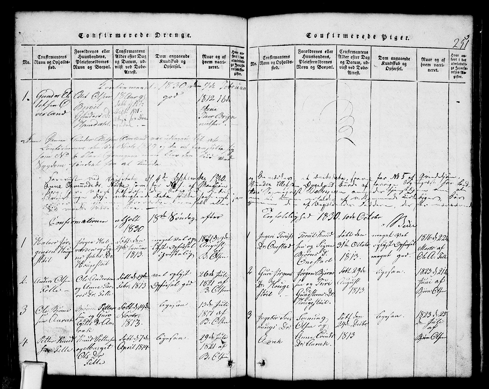 SAKO, Nissedal kirkebøker, G/Gb/L0001: Klokkerbok nr. II 1, 1814-1862, s. 251