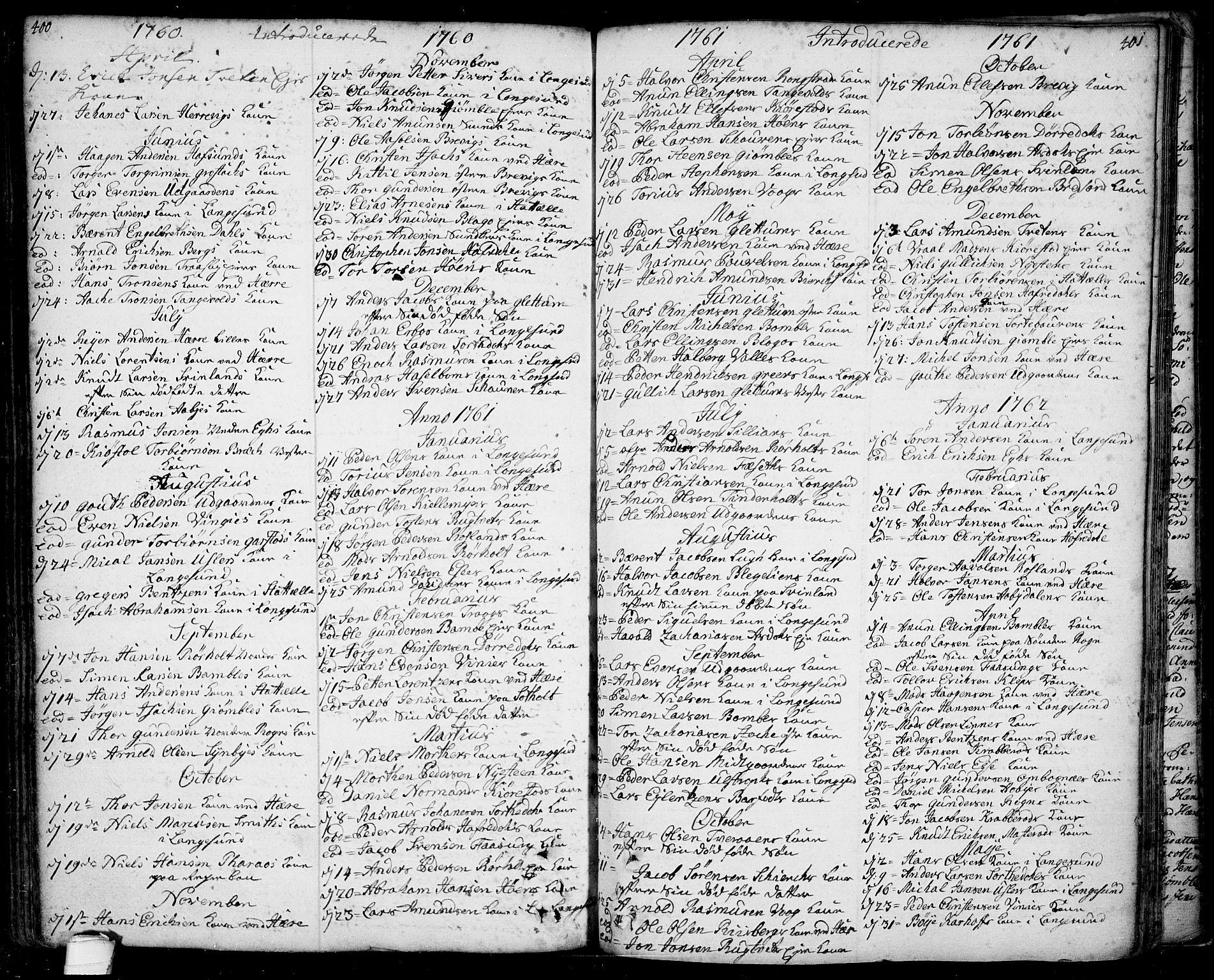 SAKO, Bamble kirkebøker, F/Fa/L0001: Ministerialbok nr. I 1, 1702-1774, s. 400-401