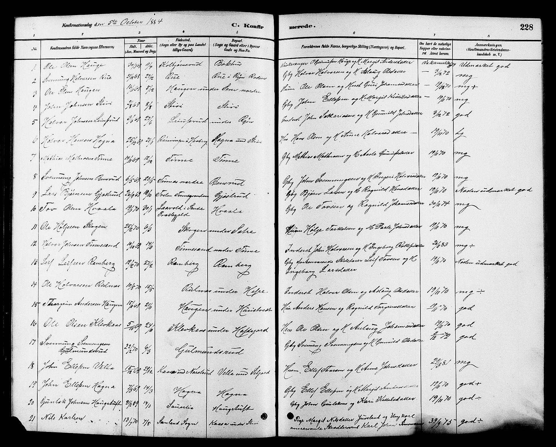 SAKO, Heddal kirkebøker, G/Ga/L0002: Klokkerbok nr. I 2, 1879-1908, s. 228