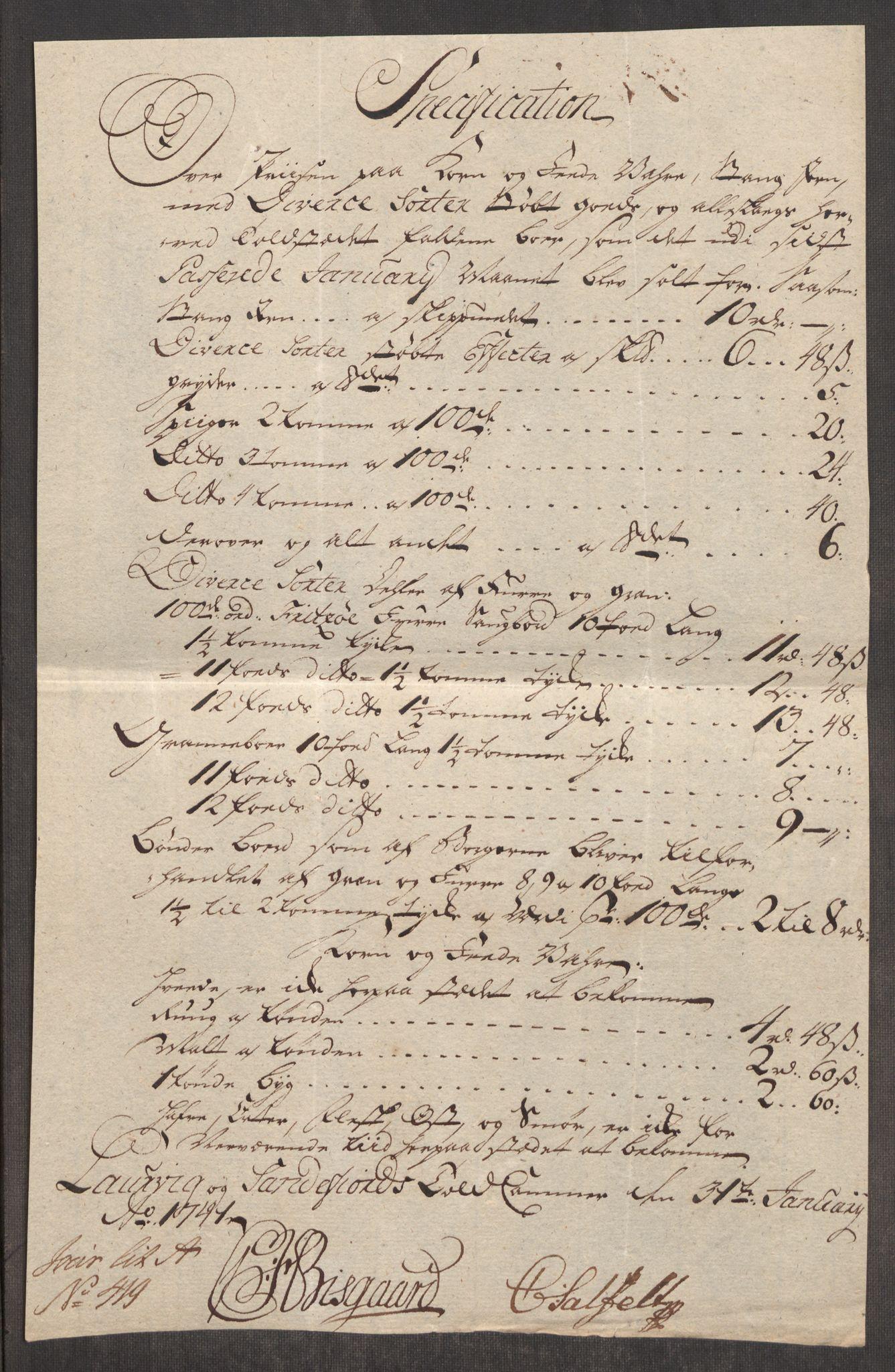 RA, Rentekammeret inntil 1814, Realistisk ordnet avdeling, Oe/L0002: [Ø1]: Priskuranter, 1740-1744, s. 287
