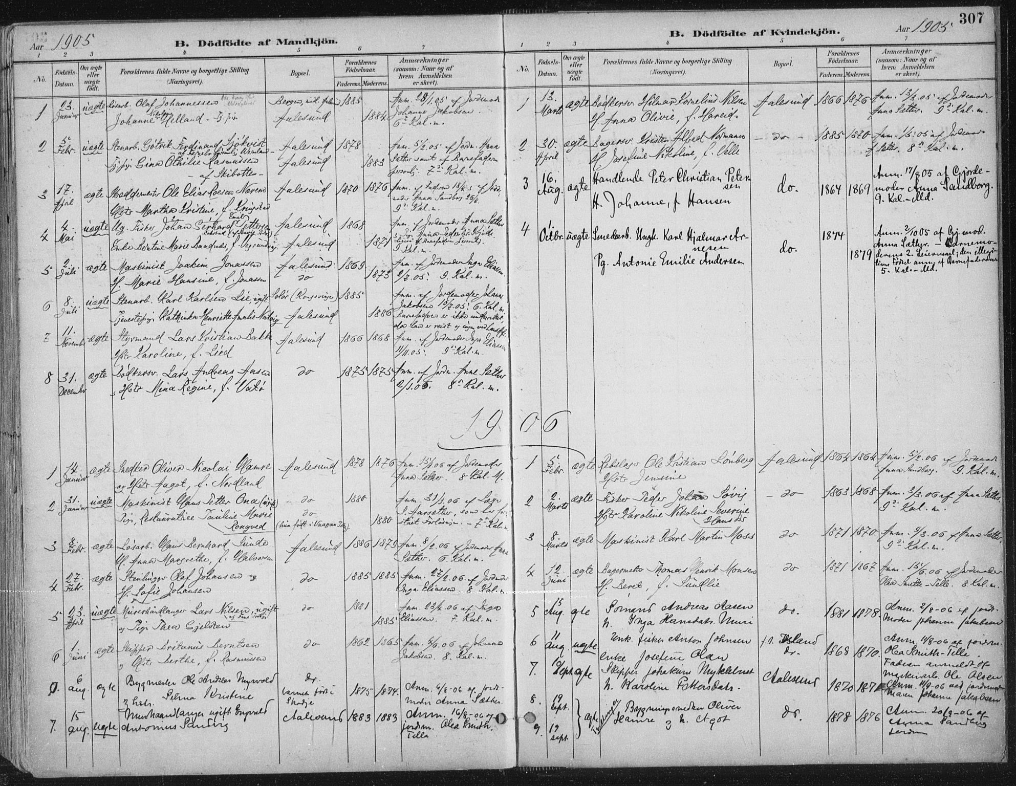 SAT, Ministerialprotokoller, klokkerbøker og fødselsregistre - Møre og Romsdal, 529/L0456: Ministerialbok nr. 529A06, 1894-1906, s. 307