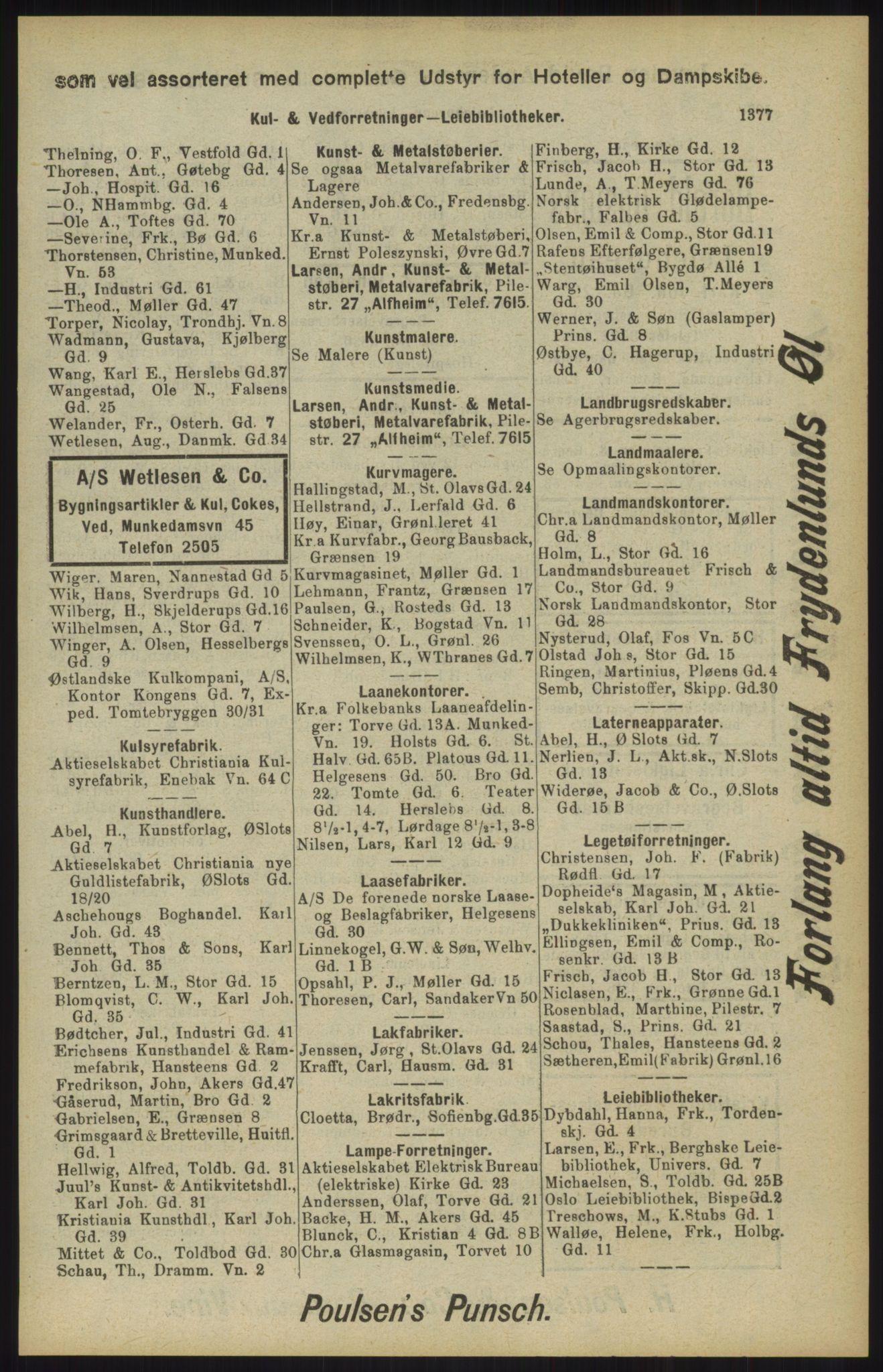 RA, Kristiania adressebok (publikasjon)*, 1904, s. 1377