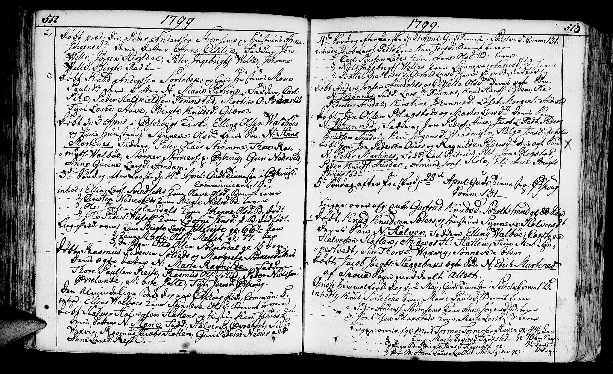 SAT, Ministerialprotokoller, klokkerbøker og fødselsregistre - Møre og Romsdal, 522/L0308: Ministerialbok nr. 522A03, 1773-1809, s. 512-513