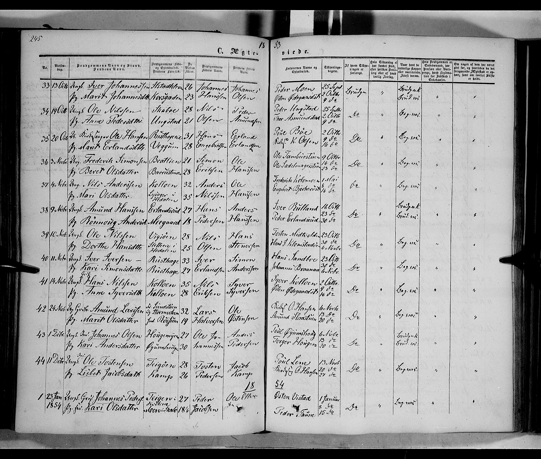 SAH, Nord-Fron prestekontor, Ministerialbok nr. 1, 1851-1864, s. 245