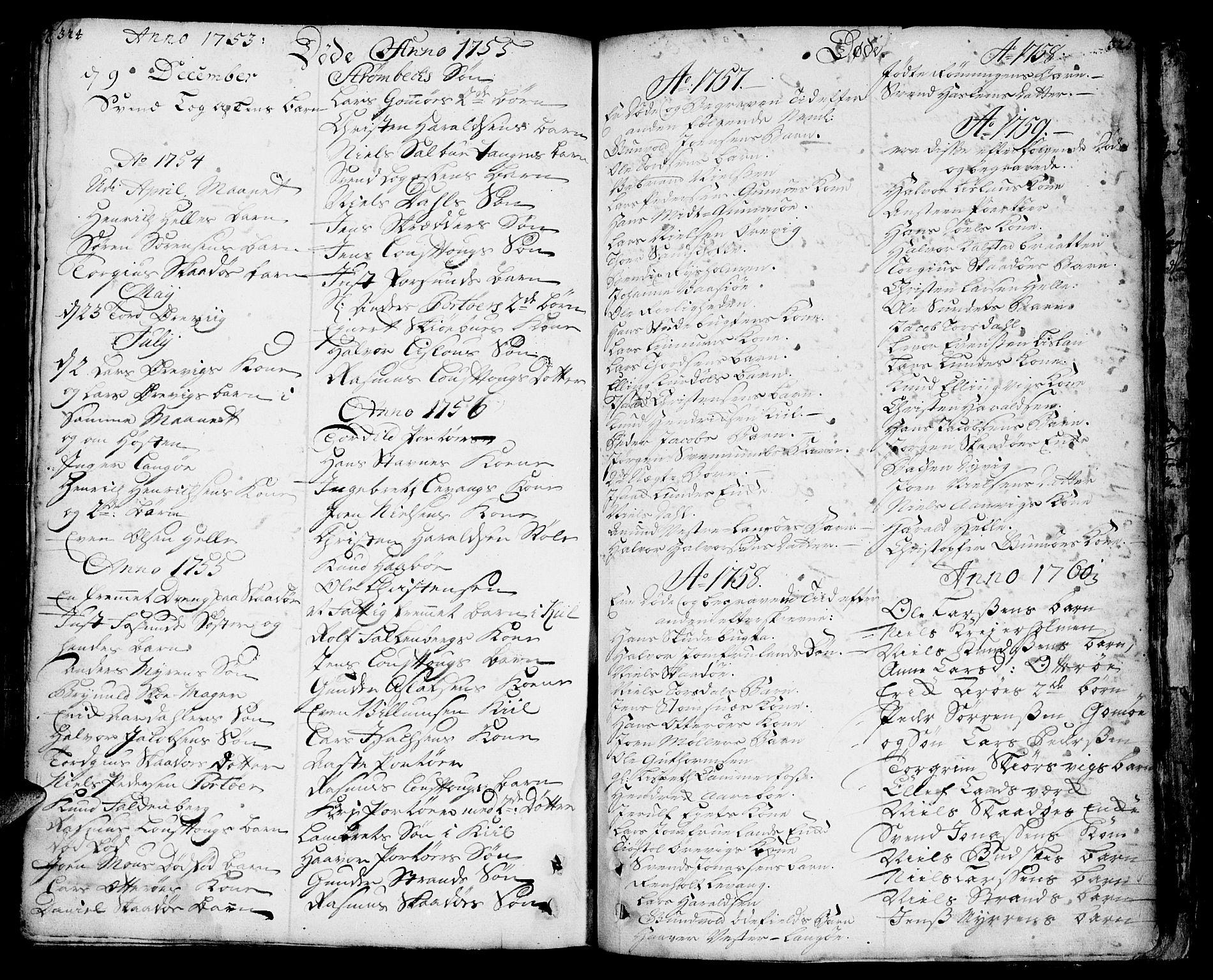 SAKO, Sannidal kirkebøker, F/Fa/L0001: Ministerialbok nr. 1, 1702-1766, s. 324-325