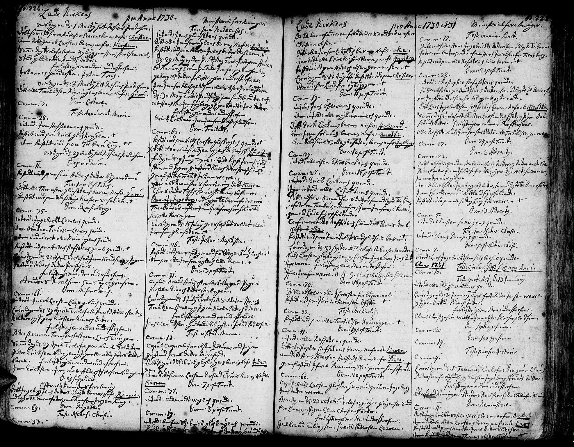 SAT, Ministerialprotokoller, klokkerbøker og fødselsregistre - Sør-Trøndelag, 606/L0275: Ministerialbok nr. 606A01 /1, 1727-1780, s. 226-227
