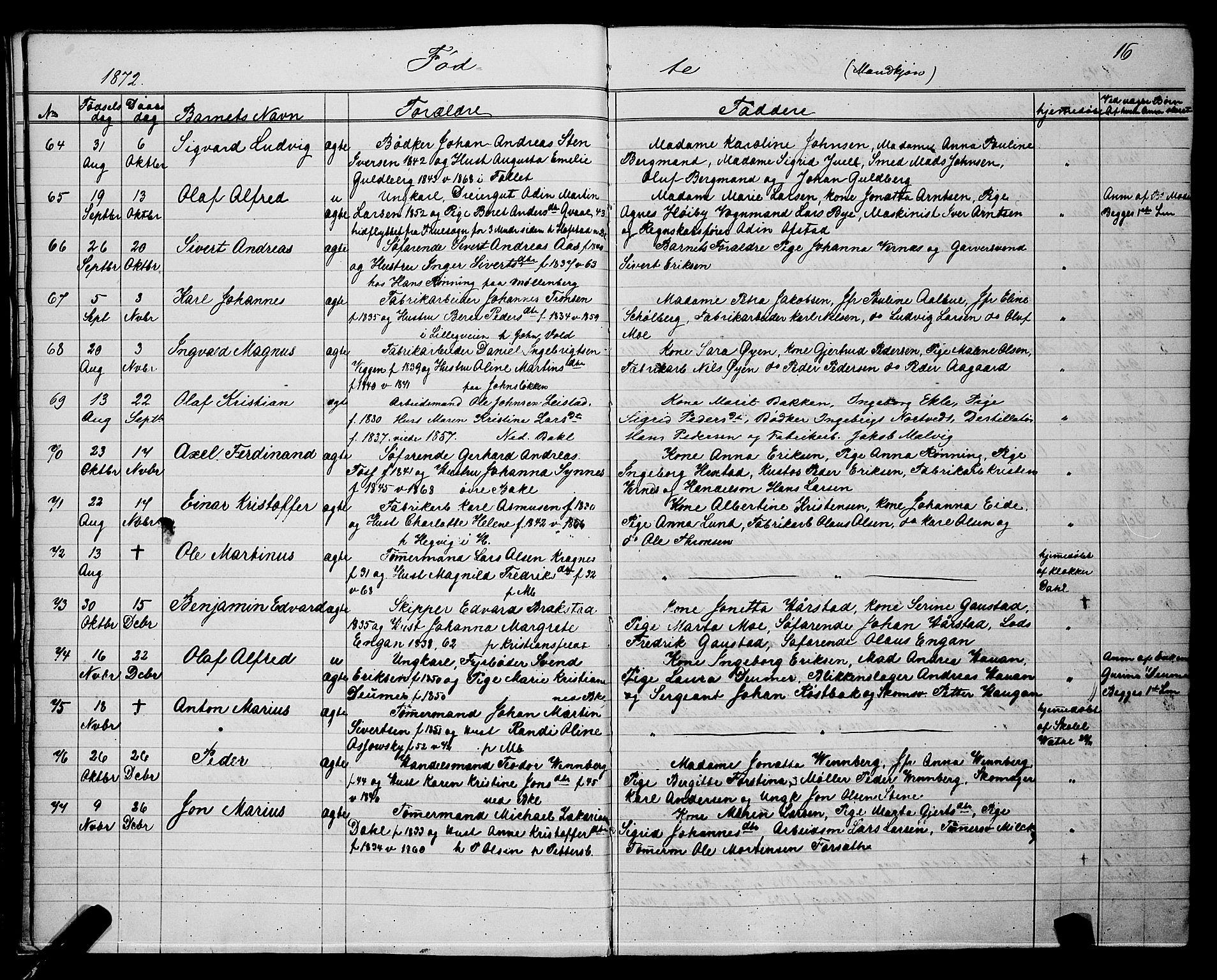 SAT, Ministerialprotokoller, klokkerbøker og fødselsregistre - Sør-Trøndelag, 604/L0220: Klokkerbok nr. 604C03, 1870-1885, s. 16