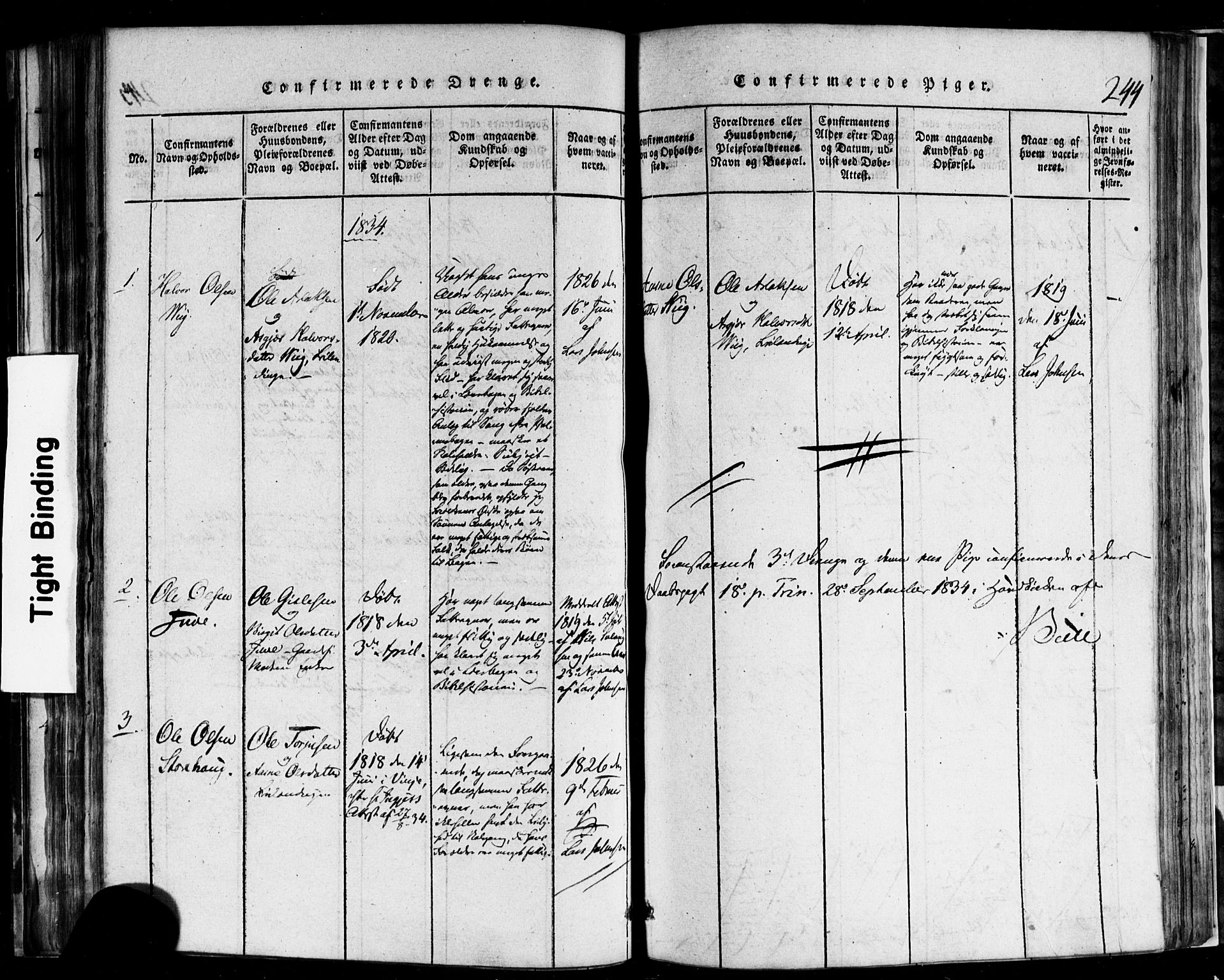 SAKO, Rauland kirkebøker, F/Fa/L0002: Ministerialbok nr. 2, 1815-1860, s. 244