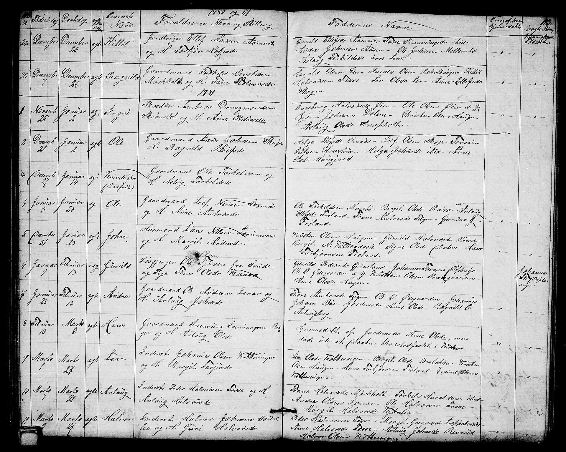 SAKO, Hjartdal kirkebøker, G/Gb/L0002: Klokkerbok nr. II 2, 1854-1884, s. 112-113