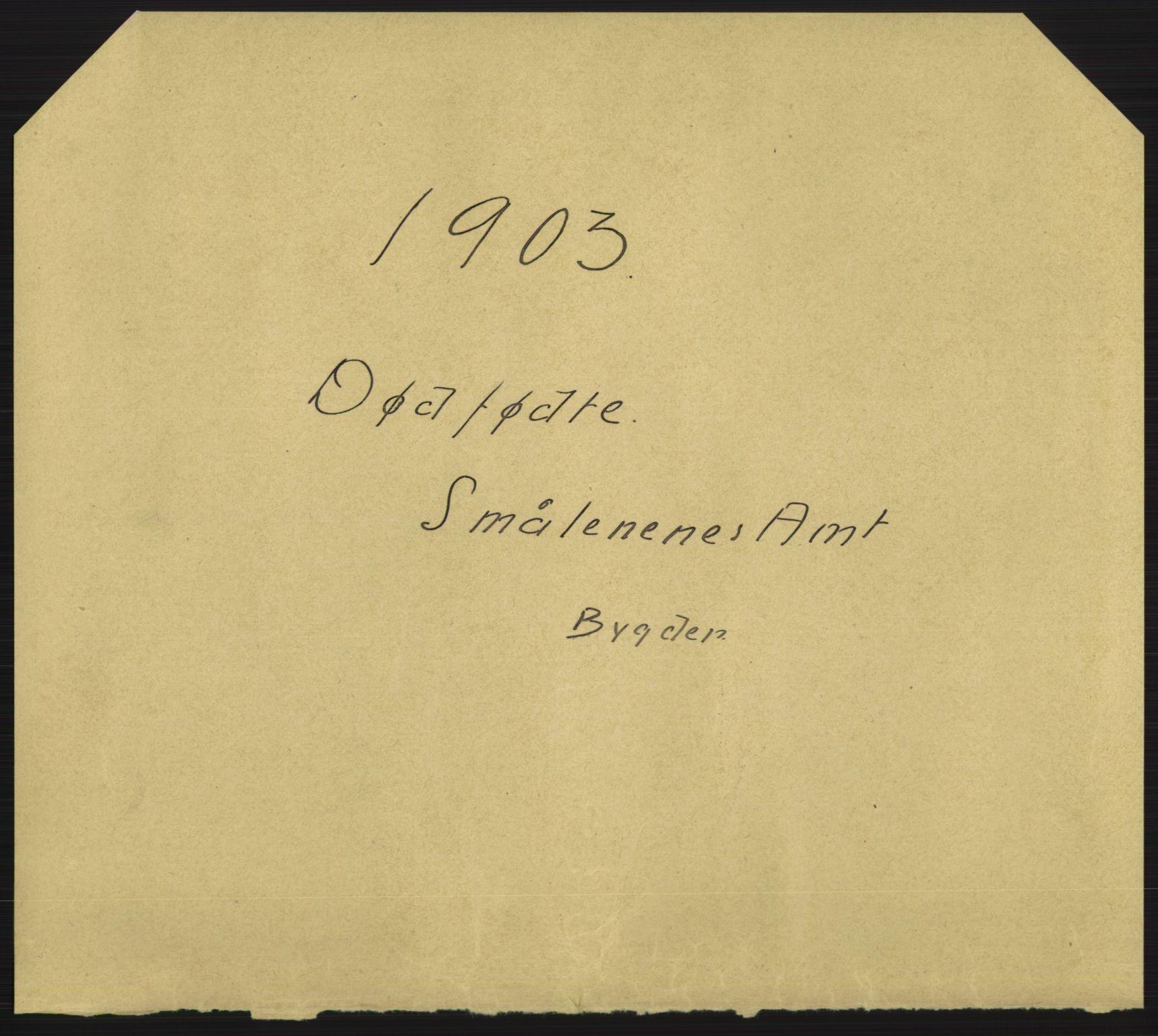 RA, Statistisk sentralbyrå, Sosiodemografiske emner, Befolkning, D/Df/Dfa/Dfaa/L0024: Smålenenes - Stavanger amt: Dødfødte. Bygder., 1903