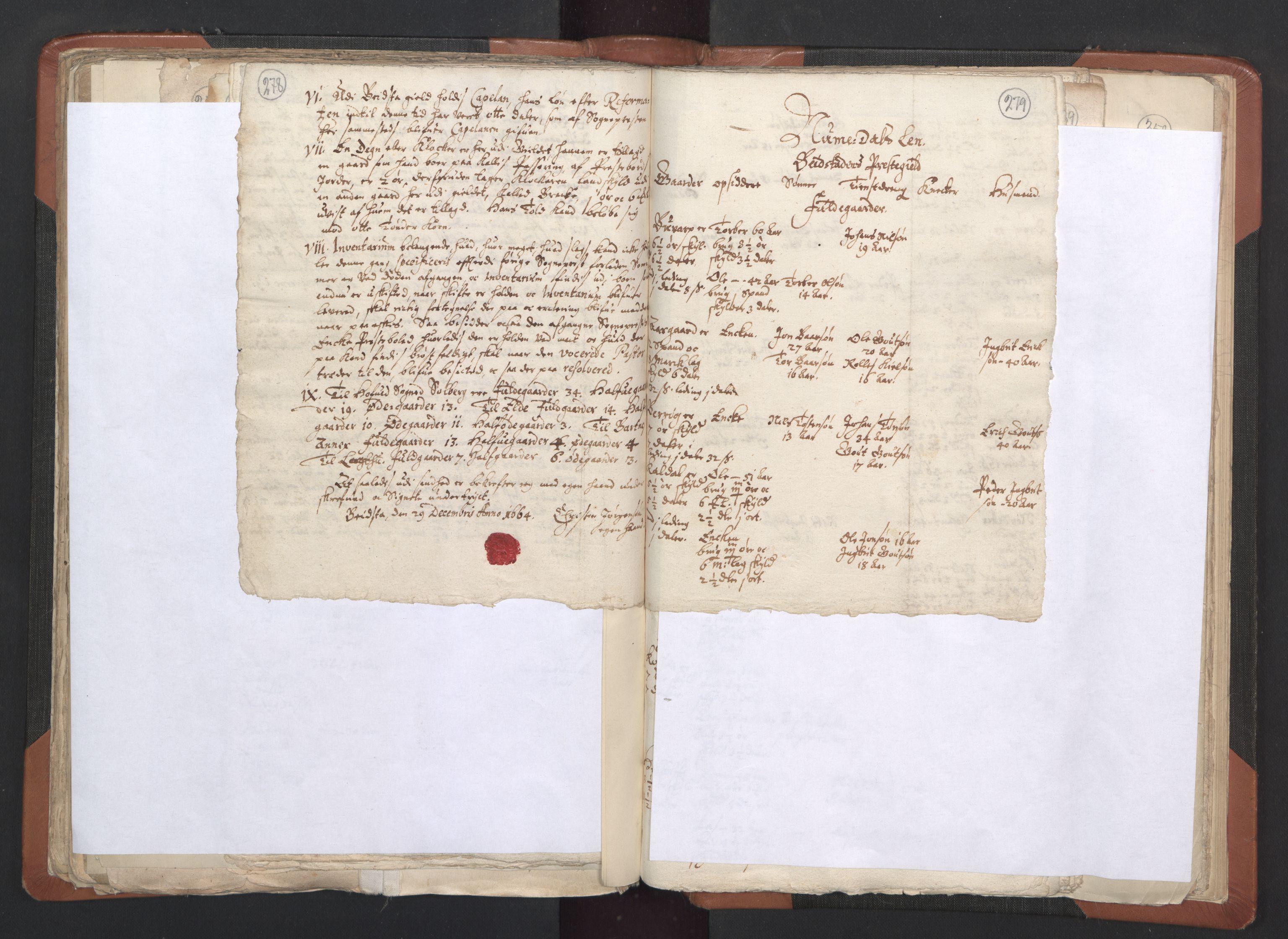 RA, Sogneprestenes manntall 1664-1666, nr. 33: Innherad prosti, 1664-1666, s. 278-279