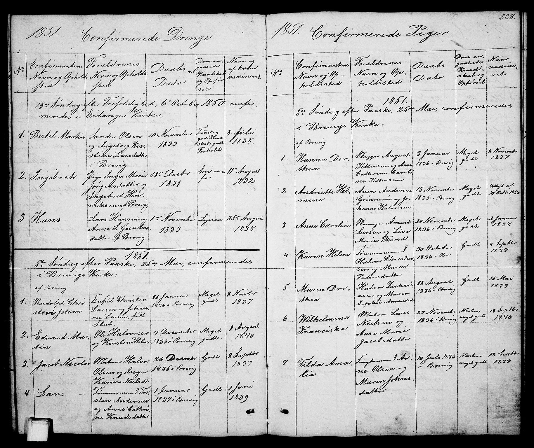 SAKO, Brevik kirkebøker, G/Ga/L0002: Klokkerbok nr. 2, 1846-1865, s. 228