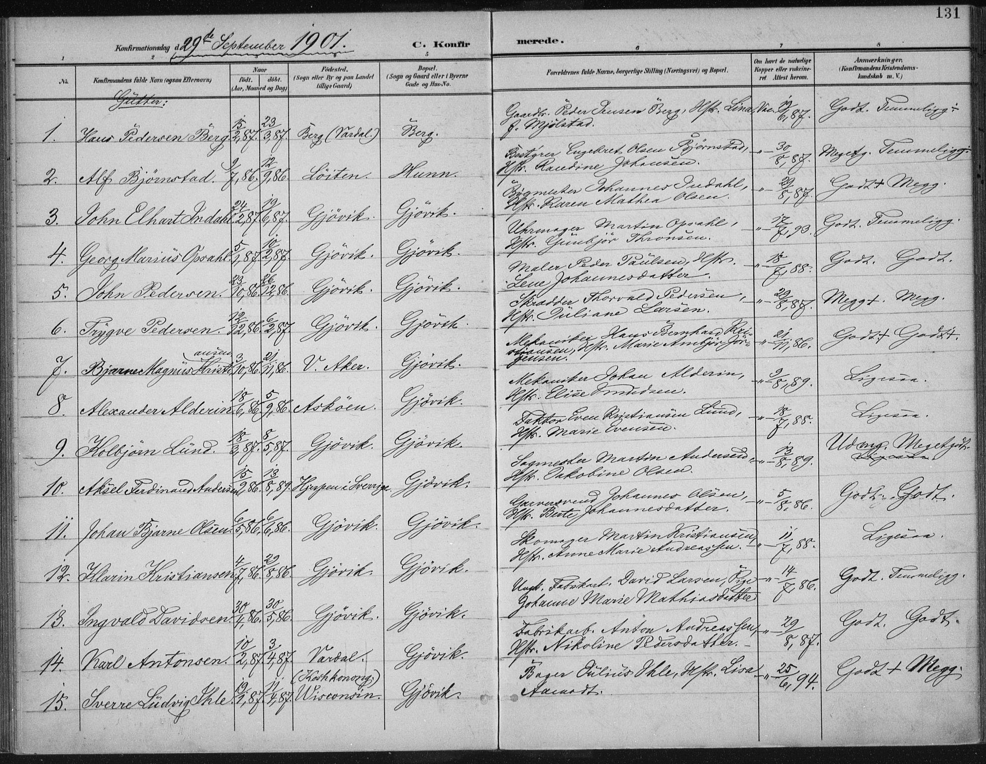 SAH, Vardal prestekontor, H/Ha/Haa/L0013: Ministerialbok nr. 13, 1901-1911, s. 131