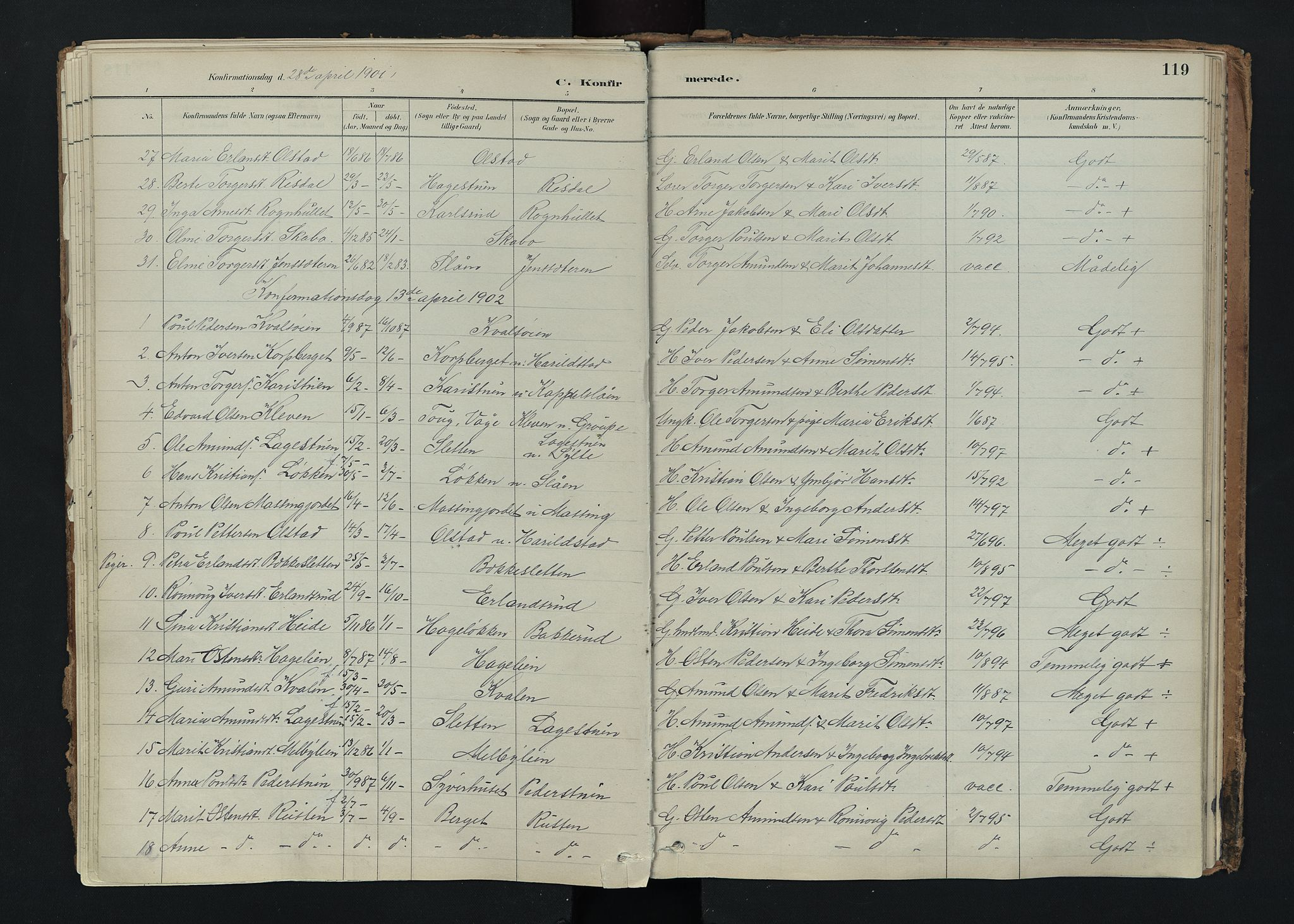 SAH, Nord-Fron prestekontor, Ministerialbok nr. 5, 1884-1914, s. 119