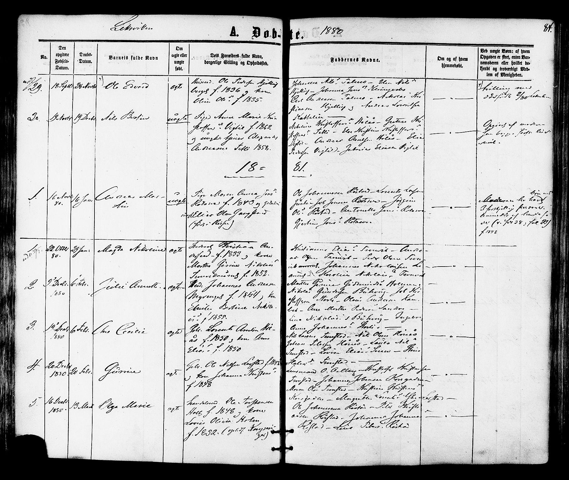 SAT, Ministerialprotokoller, klokkerbøker og fødselsregistre - Nord-Trøndelag, 701/L0009: Ministerialbok nr. 701A09 /1, 1864-1882, s. 84