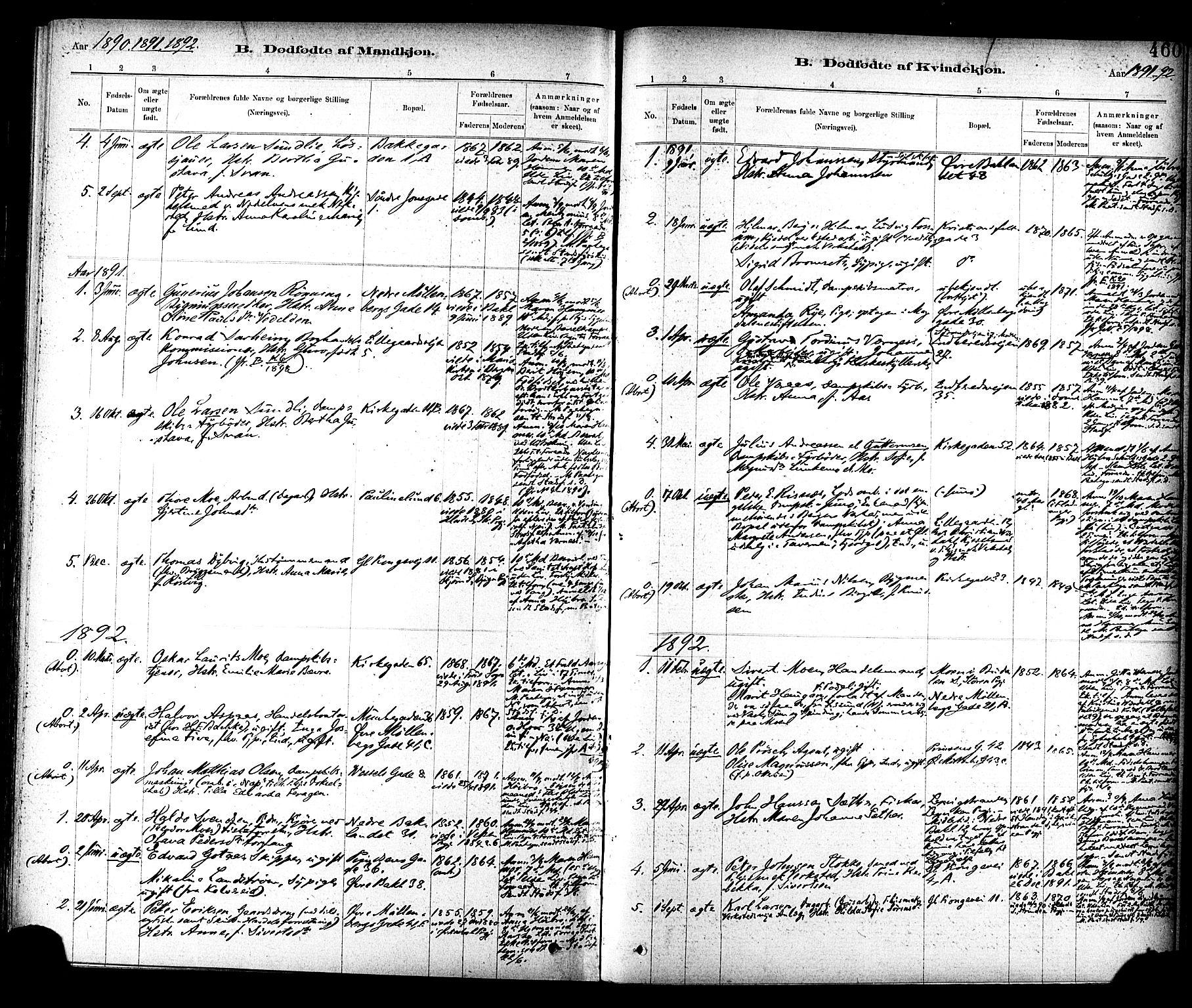 SAT, Ministerialprotokoller, klokkerbøker og fødselsregistre - Sør-Trøndelag, 604/L0188: Ministerialbok nr. 604A09, 1878-1892, s. 460
