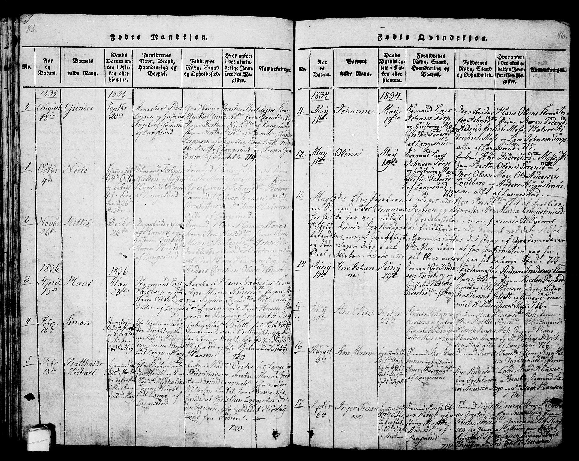 SAKO, Langesund kirkebøker, G/Ga/L0003: Klokkerbok nr. 3, 1815-1858, s. 85-86