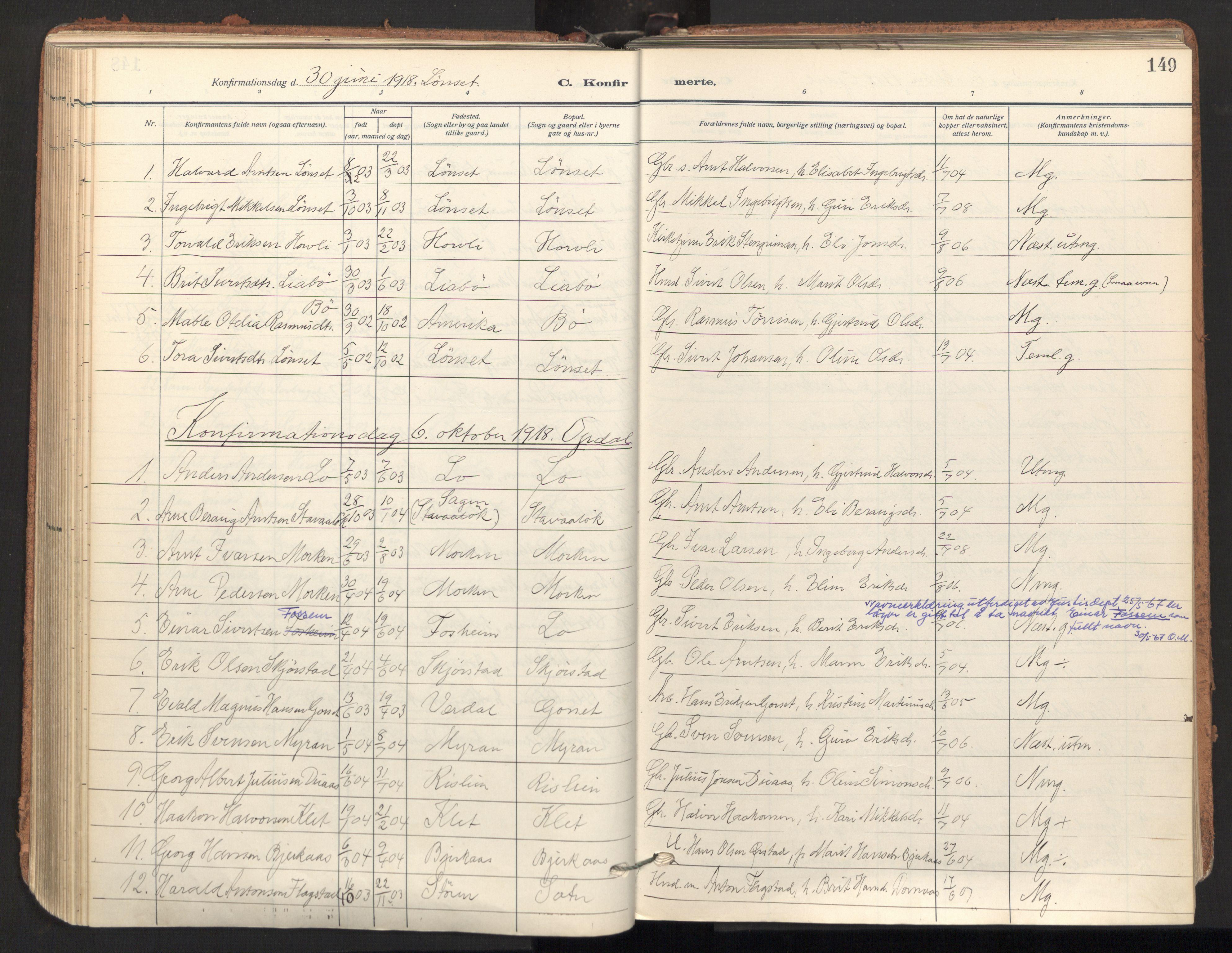 SAT, Ministerialprotokoller, klokkerbøker og fødselsregistre - Sør-Trøndelag, 678/L0909: Ministerialbok nr. 678A17, 1912-1930, s. 149
