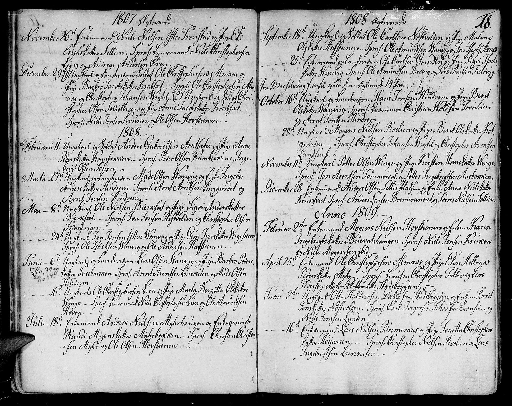 SAT, Ministerialprotokoller, klokkerbøker og fødselsregistre - Nord-Trøndelag, 701/L0004: Ministerialbok nr. 701A04, 1783-1816, s. 18