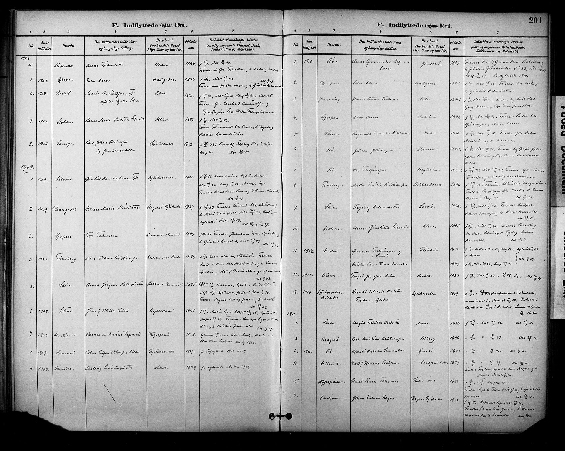 SAKO, Sauherad kirkebøker, F/Fa/L0009: Ministerialbok nr. I 9, 1887-1912, s. 201