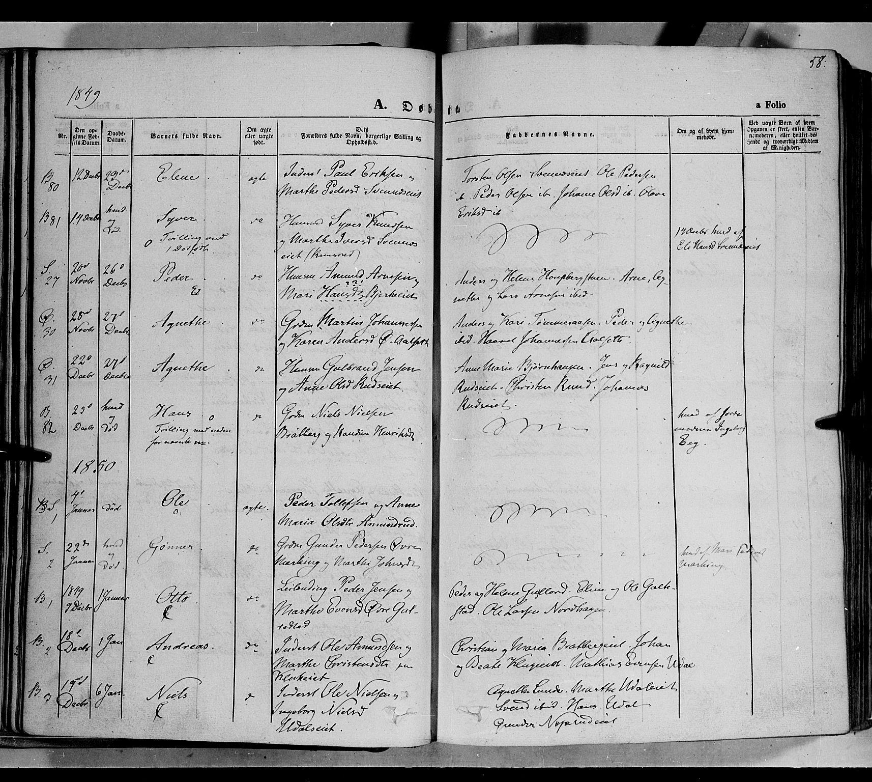 SAH, Biri prestekontor, Ministerialbok nr. 5, 1843-1854, s. 58