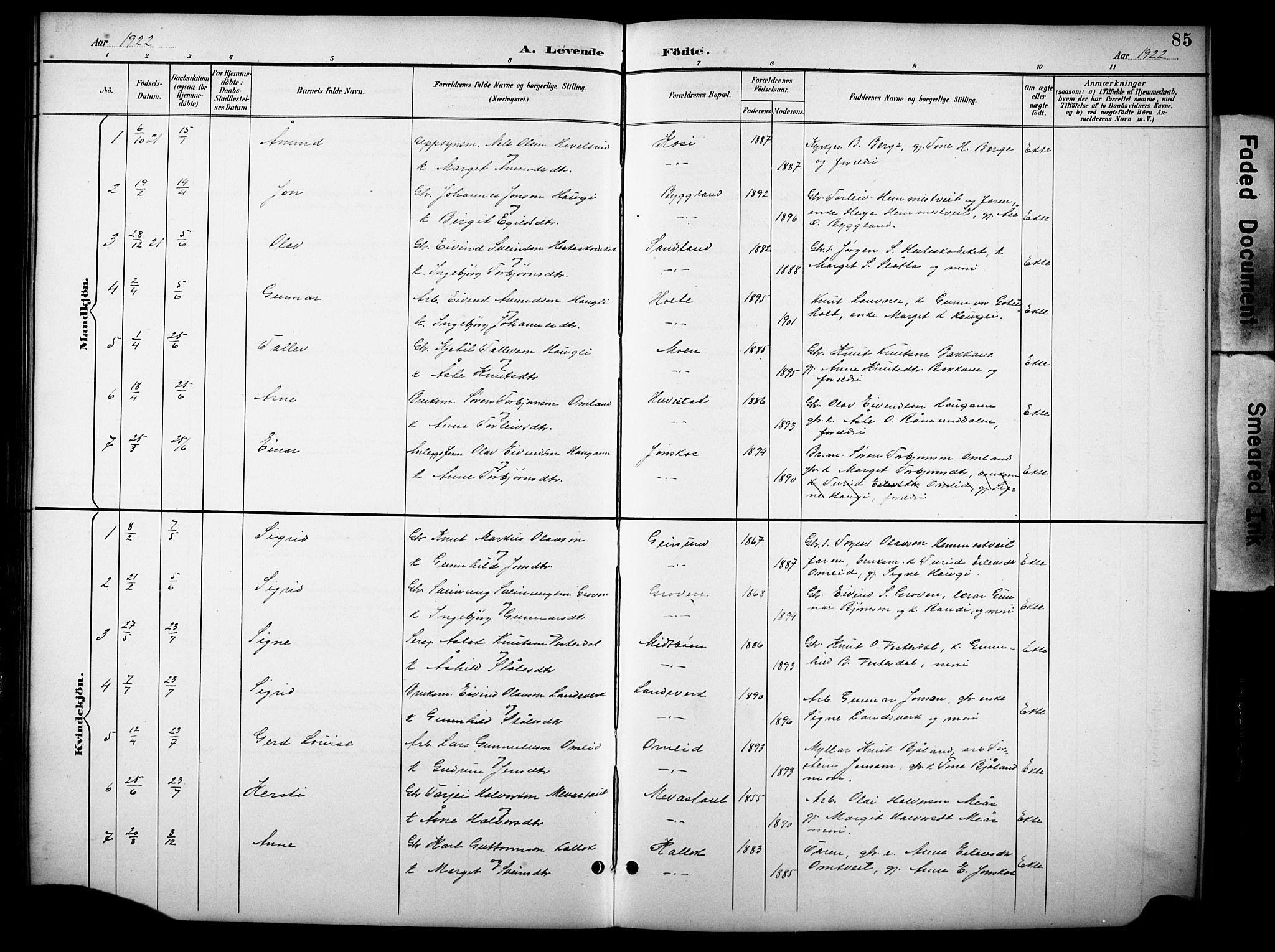 SAKO, Kviteseid kirkebøker, G/Gb/L0003: Klokkerbok nr. II 3, 1893-1933, s. 85