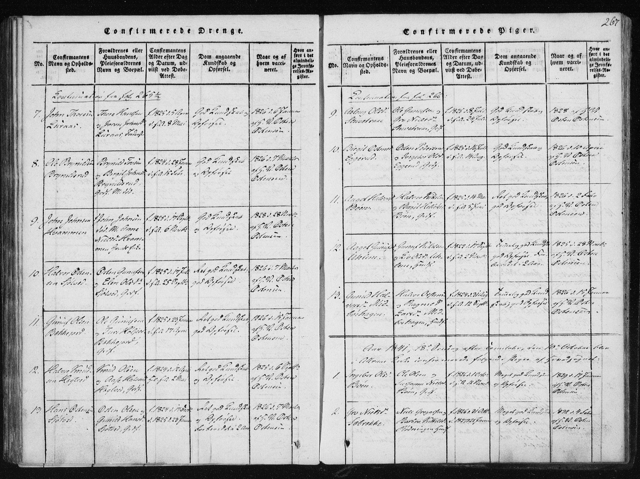 SAKO, Tinn kirkebøker, F/Fb/L0001: Ministerialbok nr. II 1, 1815-1843, s. 267