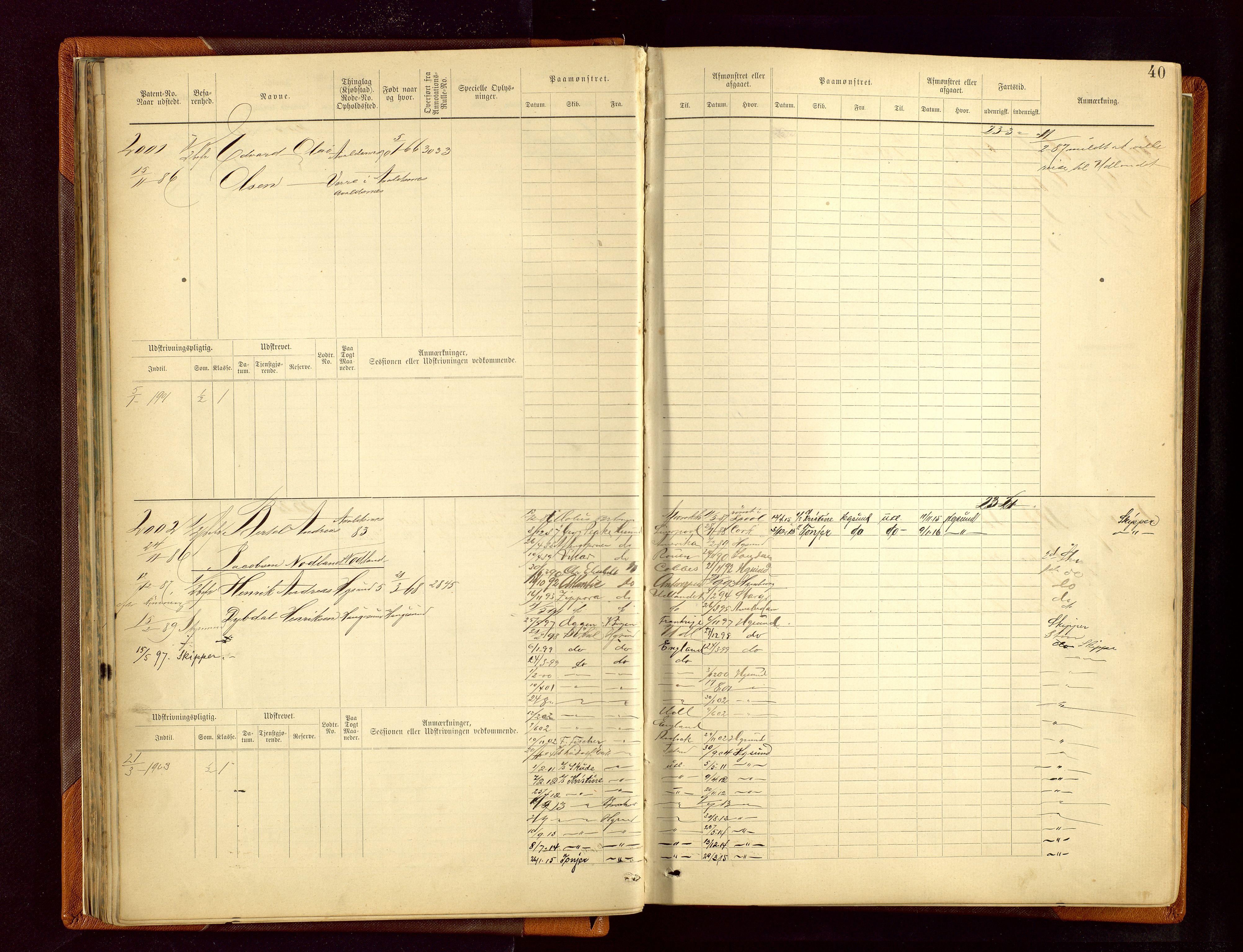 SAST, Haugesund sjømannskontor, F/Fb/Fbb/L0006: Sjøfartsrulle Haugesund krets nr.1923-2884, 1868-1948, s. 40