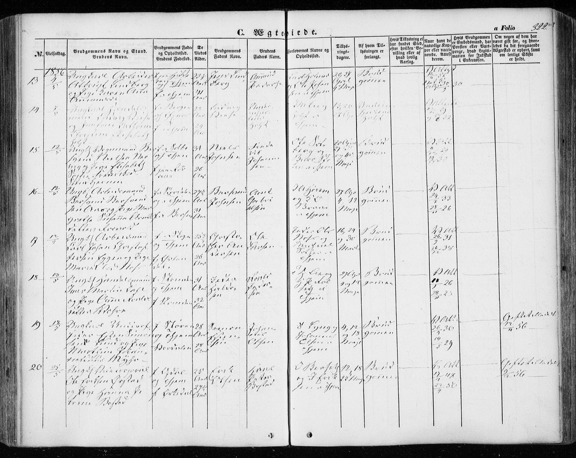 SAT, Ministerialprotokoller, klokkerbøker og fødselsregistre - Sør-Trøndelag, 601/L0051: Ministerialbok nr. 601A19, 1848-1857, s. 322