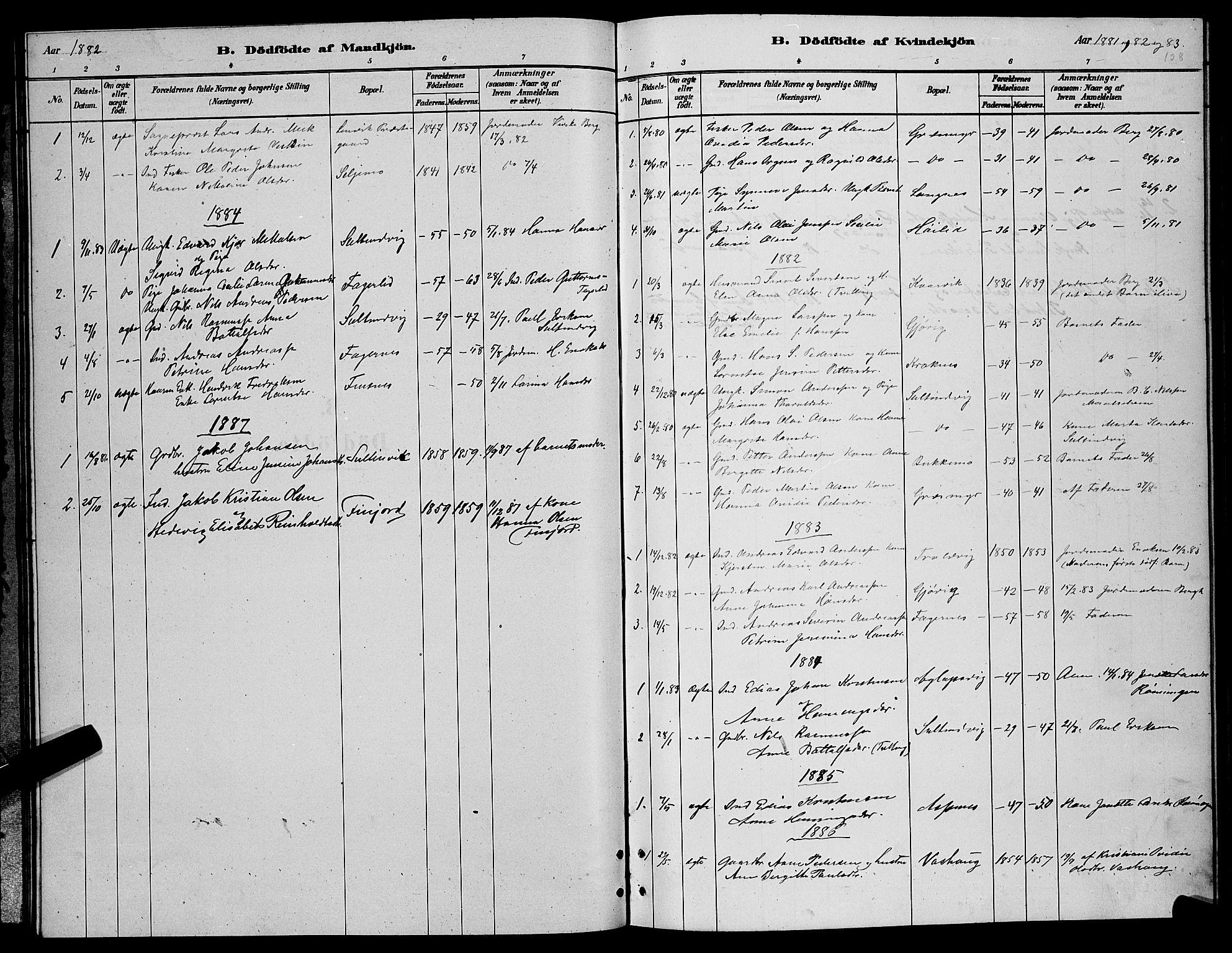 SATØ, Lenvik sokneprestembete, H/Ha: Klokkerbok nr. 6, 1881-1889, s. 108