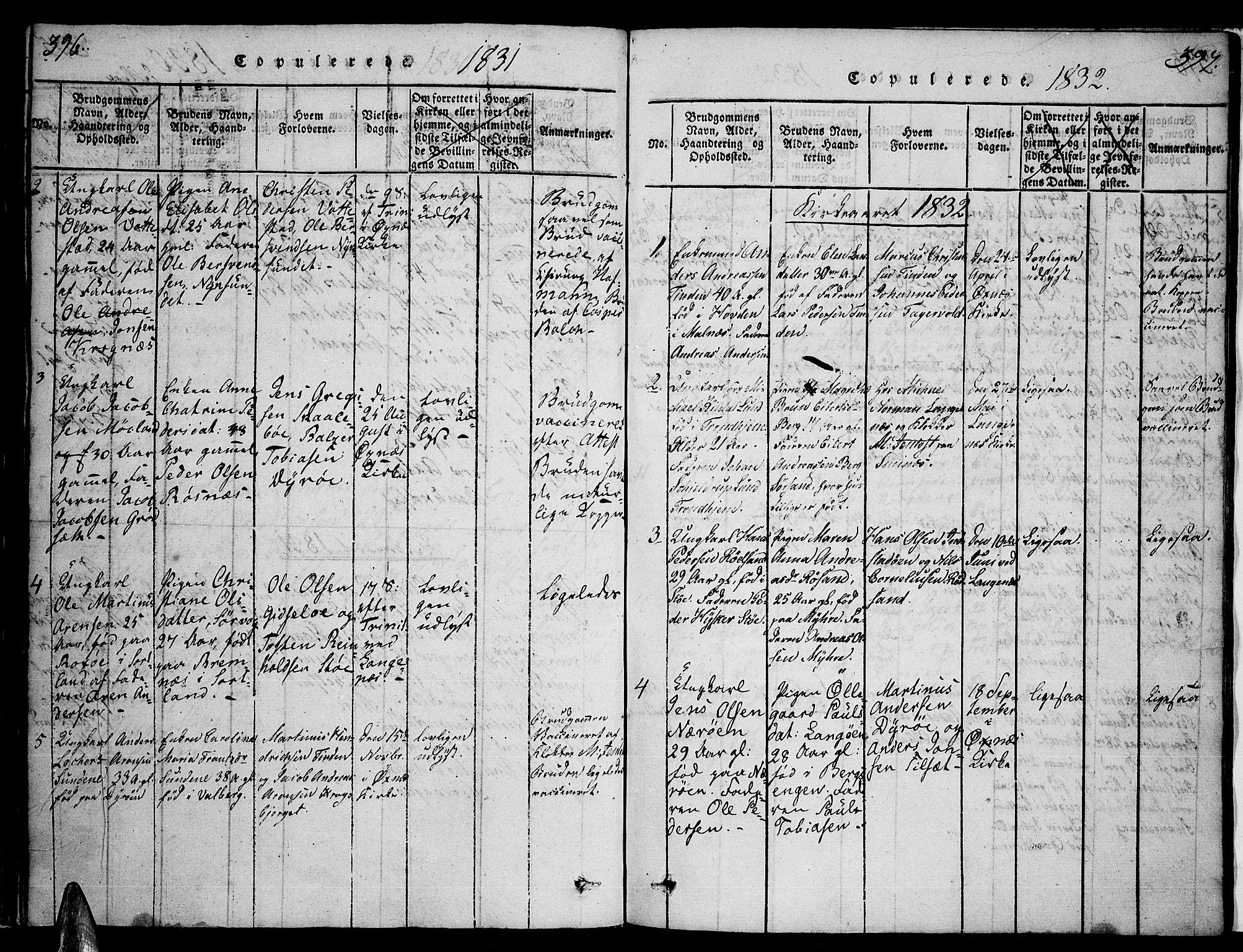 SAT, Ministerialprotokoller, klokkerbøker og fødselsregistre - Nordland, 893/L1331: Ministerialbok nr. 893A04, 1820-1840, s. 396-397