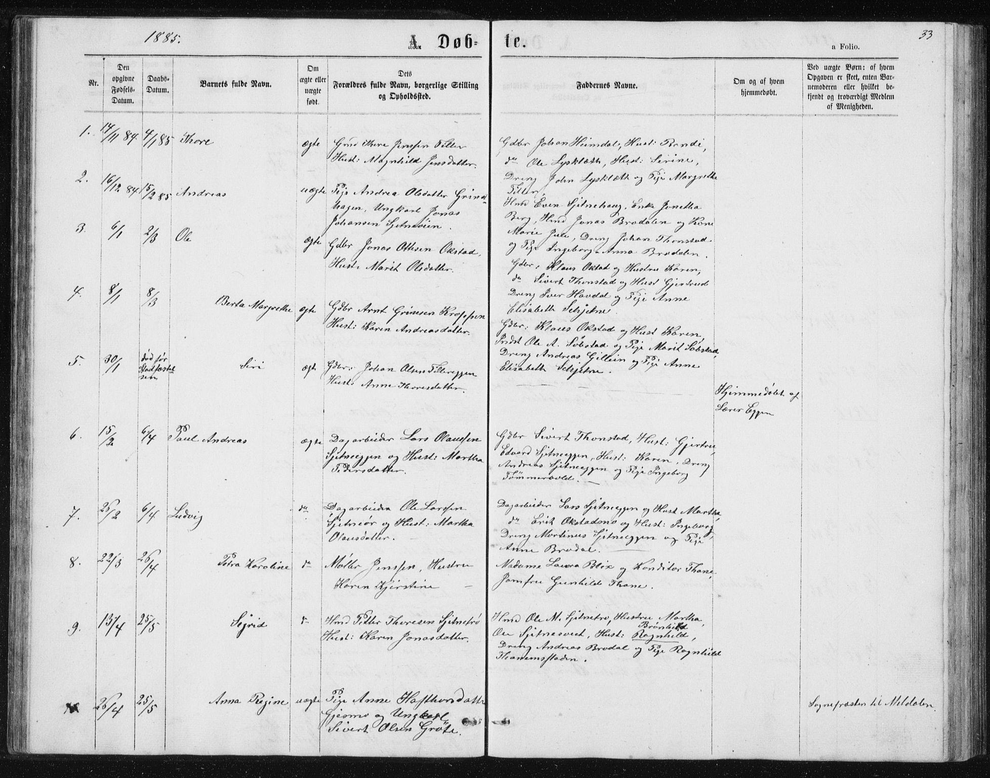 SAT, Ministerialprotokoller, klokkerbøker og fødselsregistre - Sør-Trøndelag, 621/L0459: Klokkerbok nr. 621C02, 1866-1895, s. 33
