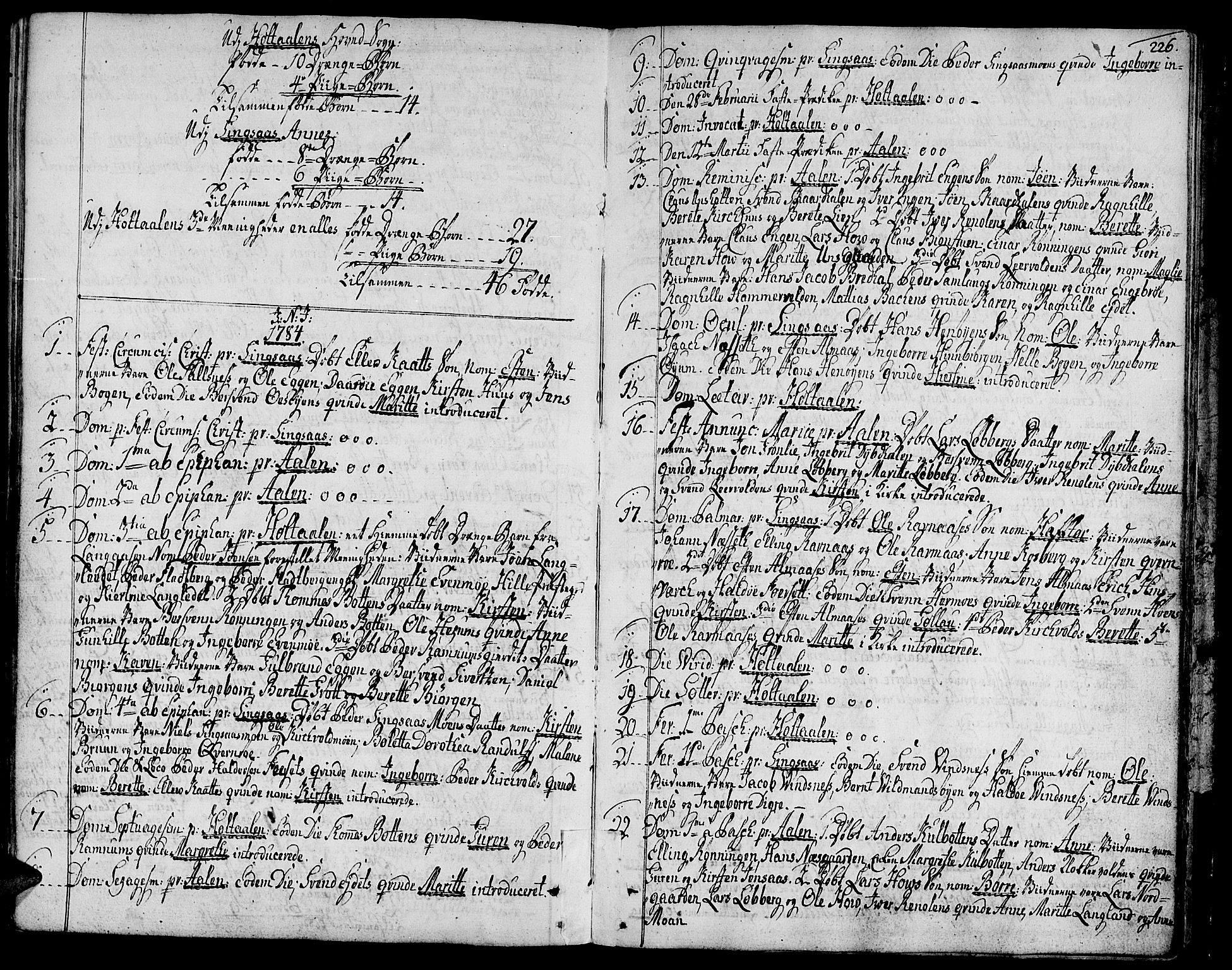 SAT, Ministerialprotokoller, klokkerbøker og fødselsregistre - Sør-Trøndelag, 685/L0952: Ministerialbok nr. 685A01, 1745-1804, s. 226