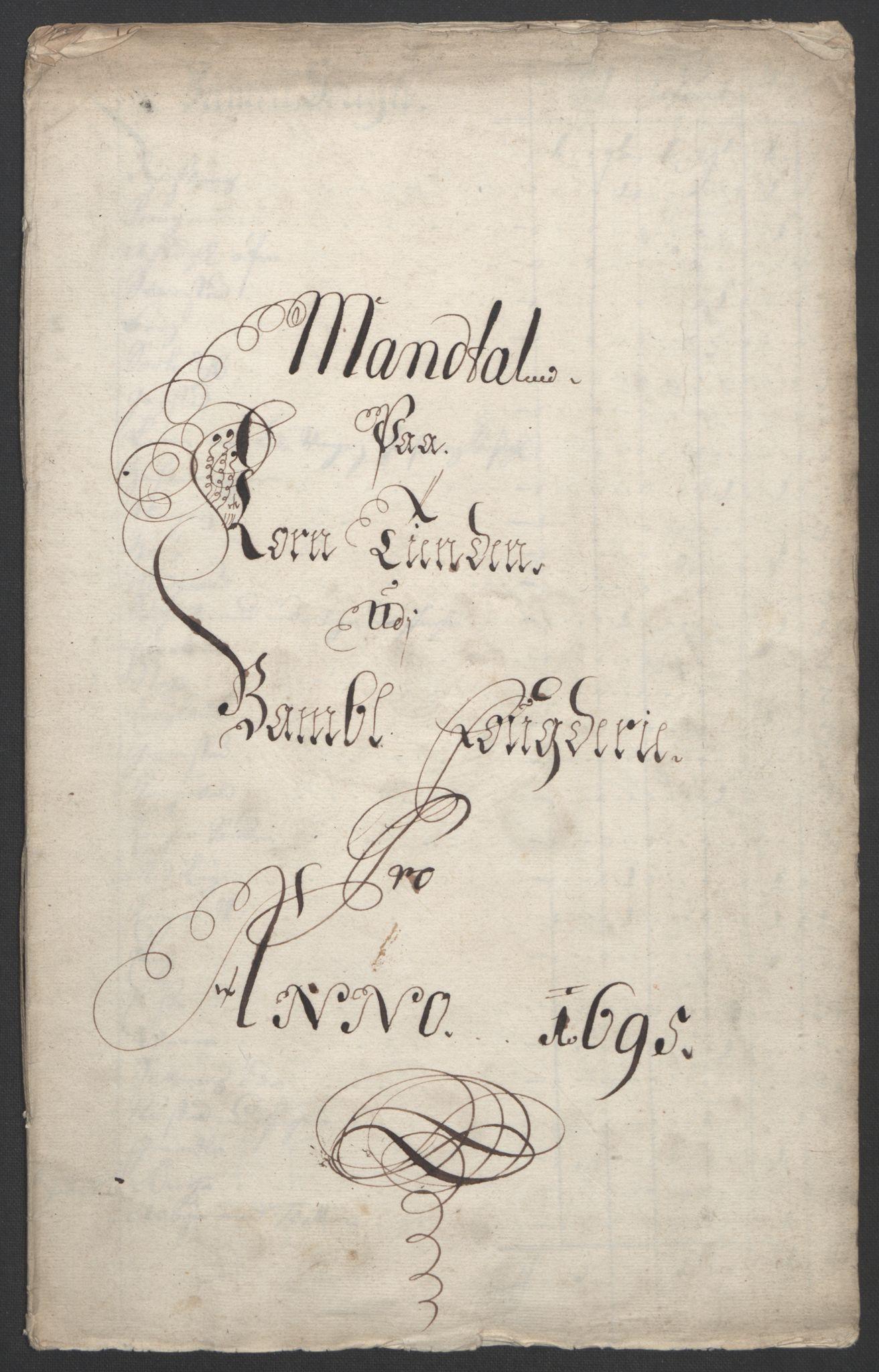 RA, Rentekammeret inntil 1814, Reviderte regnskaper, Fogderegnskap, R36/L2093: Fogderegnskap Øvre og Nedre Telemark og Bamble, 1695, s. 338