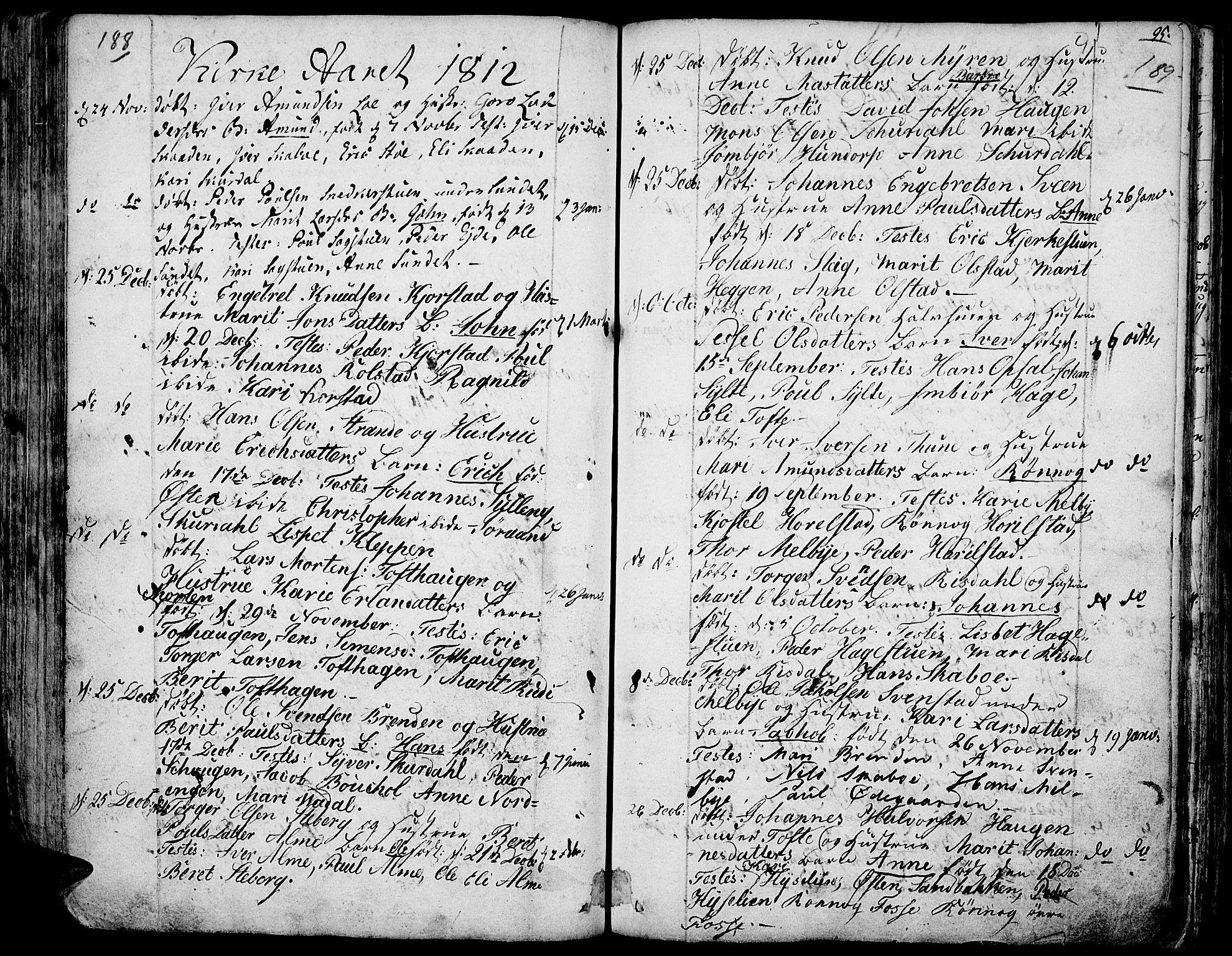 SAH, Fron prestekontor, H/Ha/Haa/L0001: Ministerialbok nr. 1, 1799-1816, s. 188-189