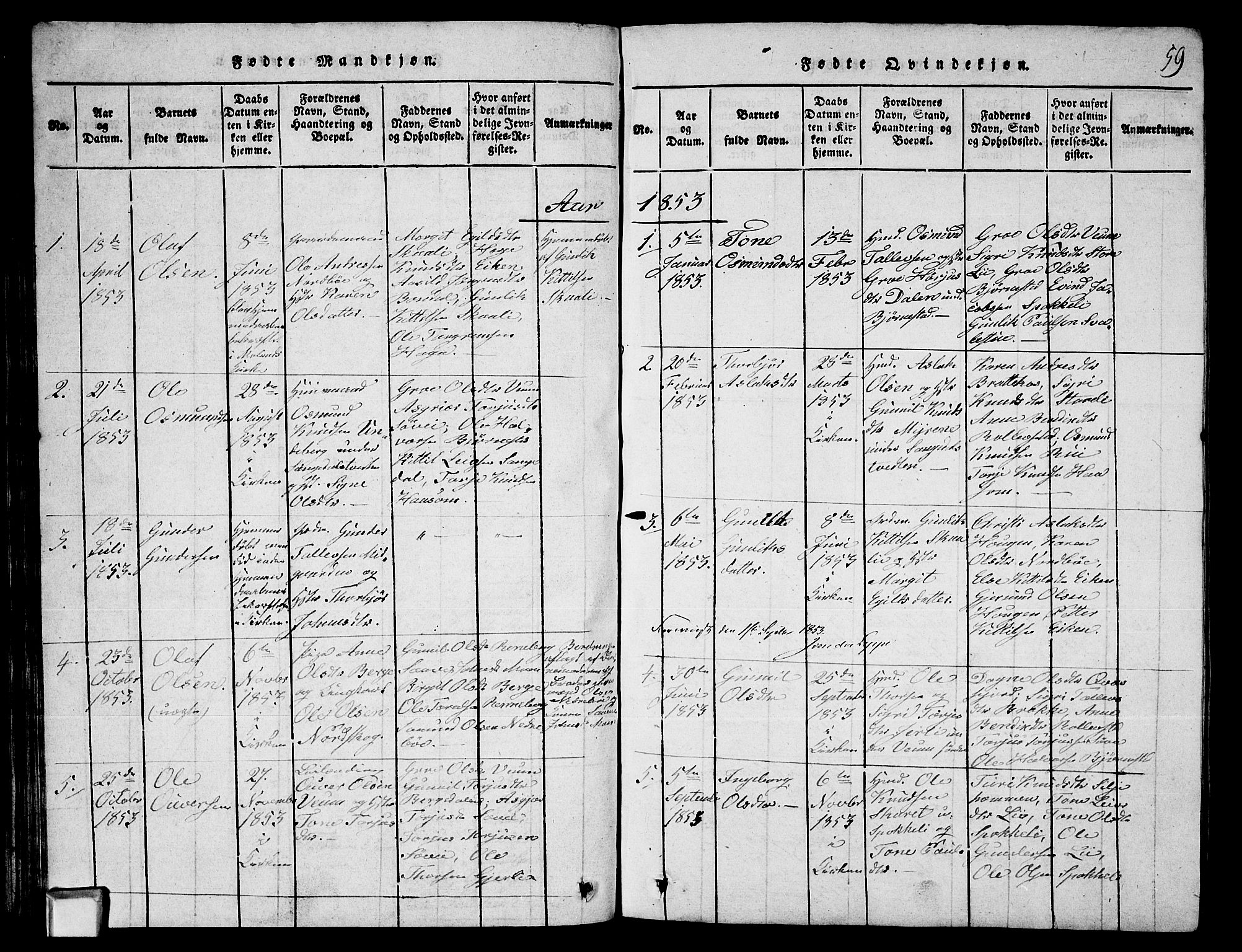 SAKO, Fyresdal kirkebøker, G/Ga/L0003: Klokkerbok nr. I 3, 1815-1863, s. 59