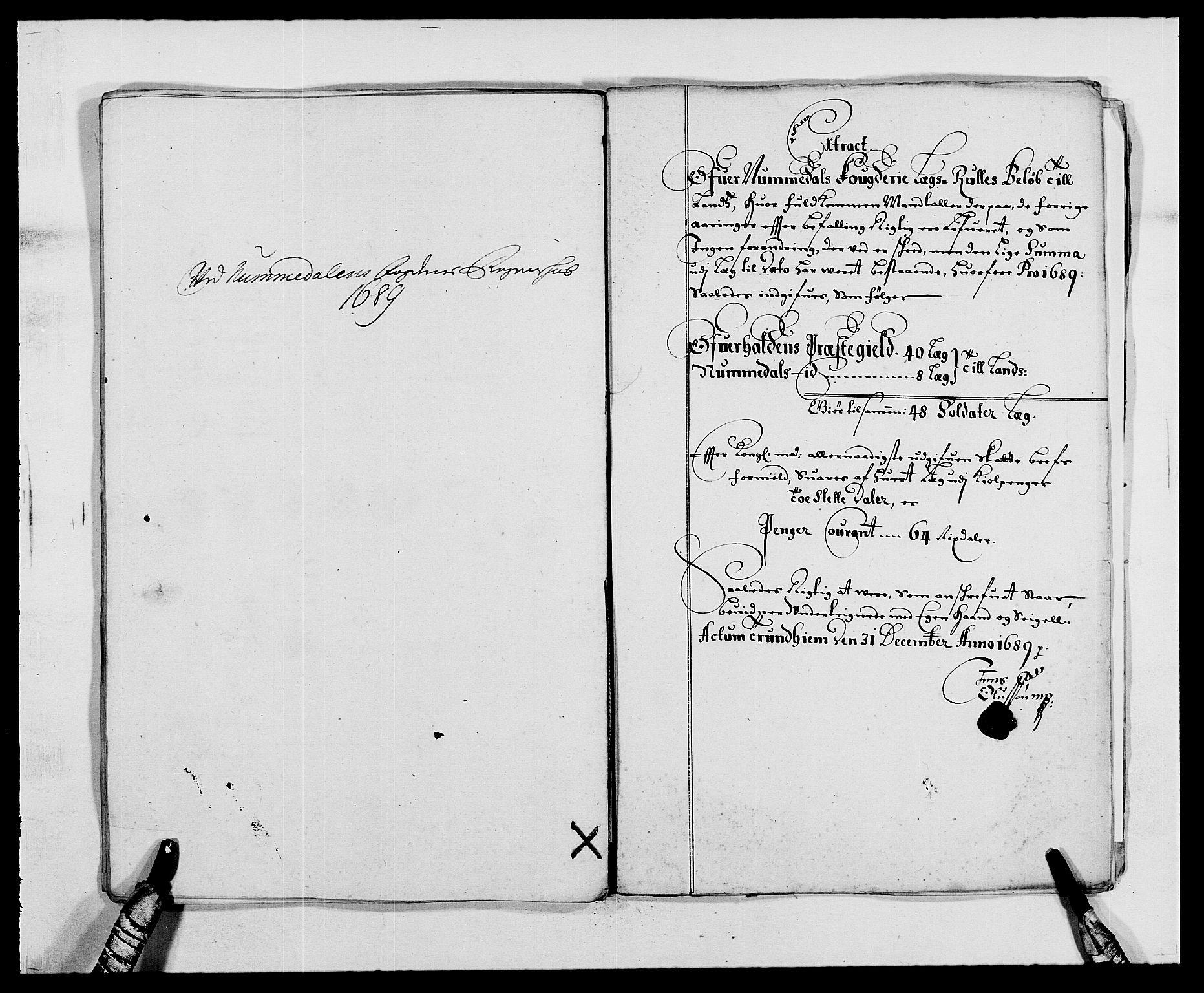 RA, Rentekammeret inntil 1814, Reviderte regnskaper, Fogderegnskap, R64/L4422: Fogderegnskap Namdal, 1687-1689, s. 227
