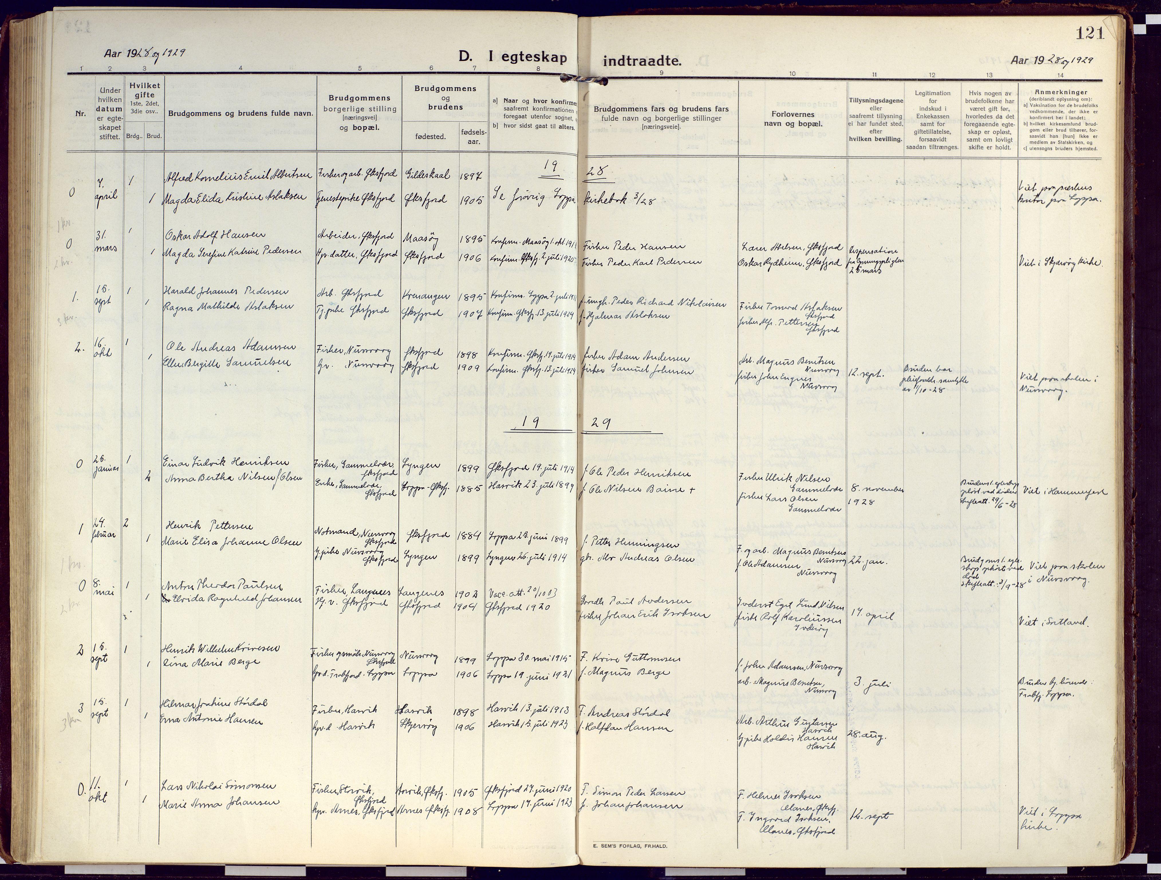SATØ, Loppa sokneprestkontor, H/Ha/L0012kirke: Ministerialbok nr. 12, 1917-1932, s. 121