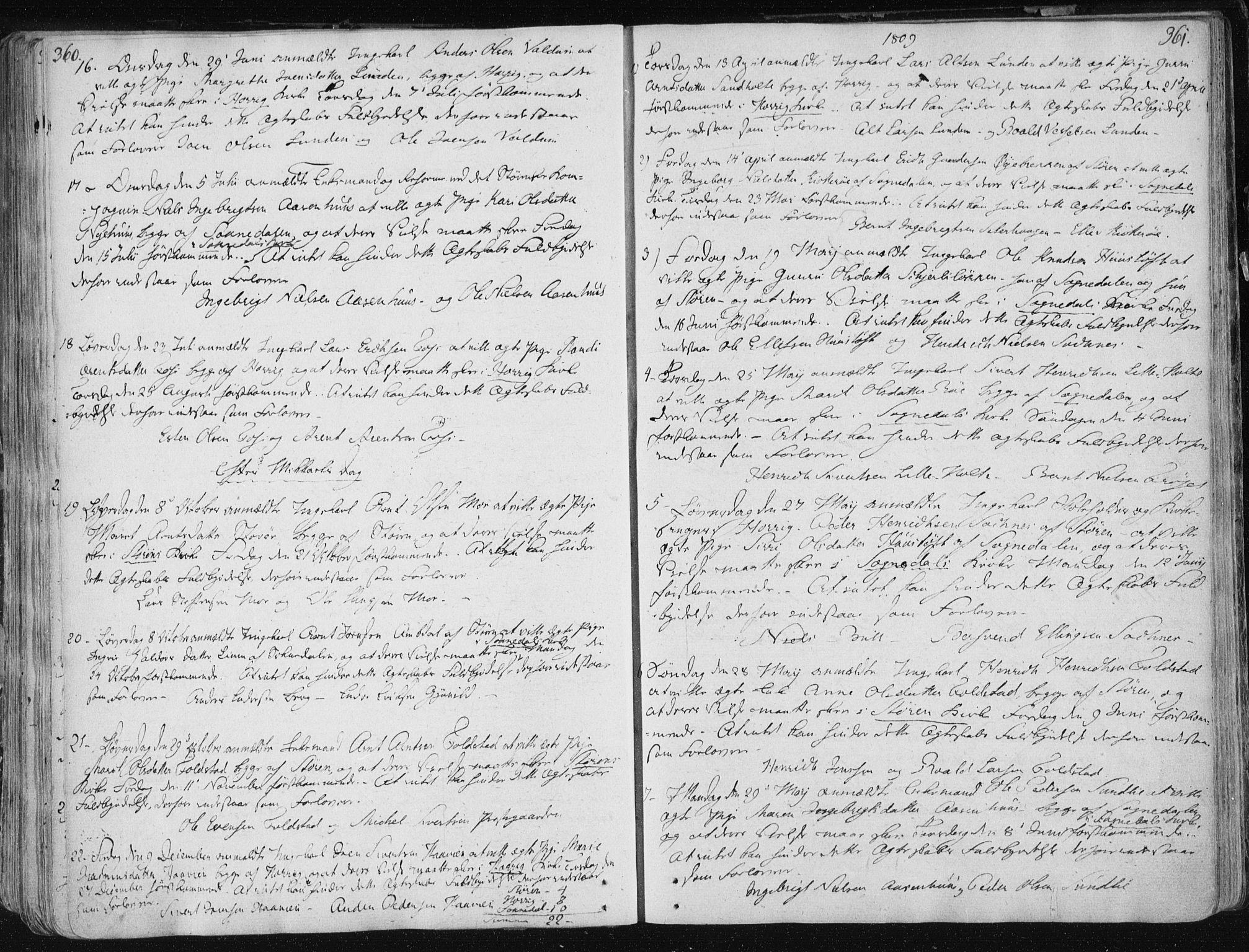 SAT, Ministerialprotokoller, klokkerbøker og fødselsregistre - Sør-Trøndelag, 687/L0992: Ministerialbok nr. 687A03 /1, 1788-1815, s. 360-361