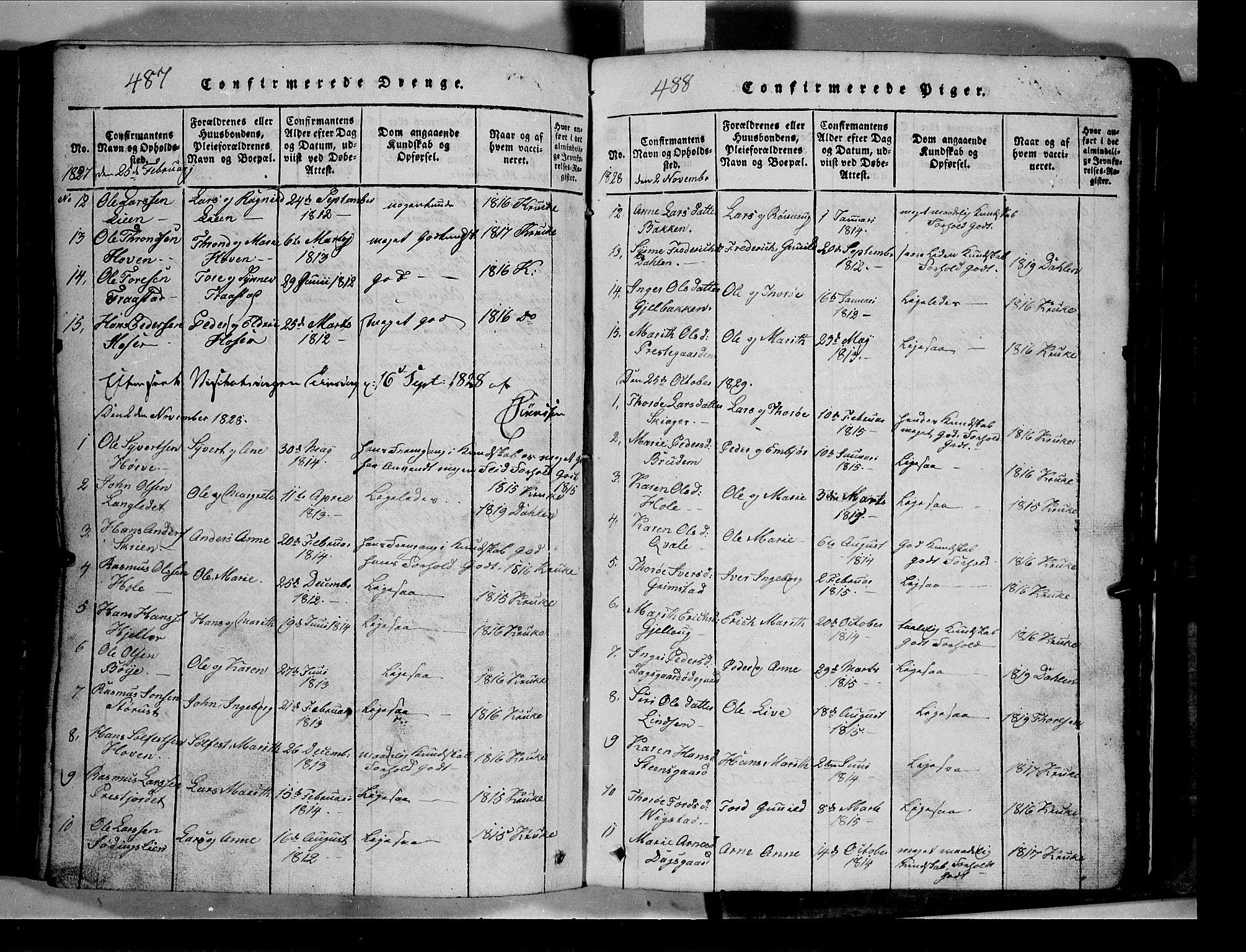 SAH, Lom prestekontor, L/L0003: Klokkerbok nr. 3, 1815-1844, s. 487-488