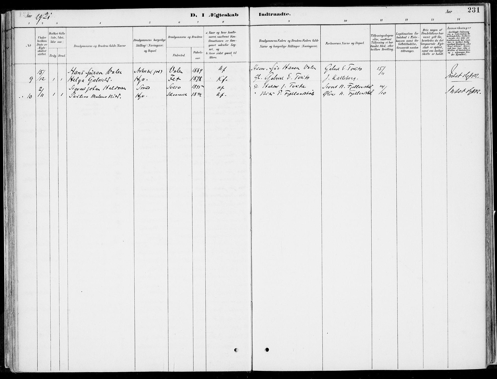 SAB, Kvinnherad Sokneprestembete, H/Haa: Ministerialbok nr. B  1, 1887-1921, s. 231