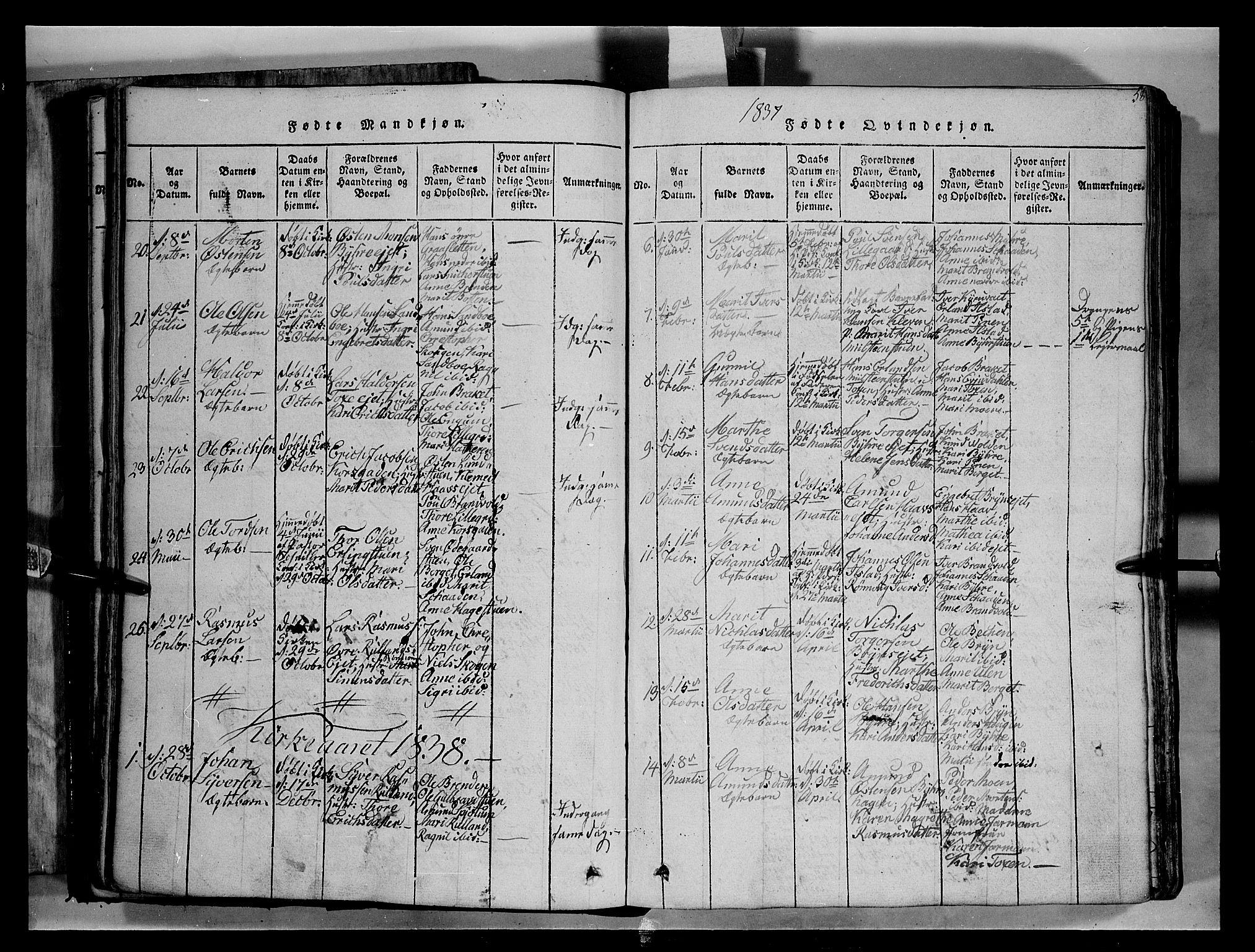 SAH, Fron prestekontor, H/Ha/Hab/L0004: Klokkerbok nr. 4, 1816-1850, s. 58