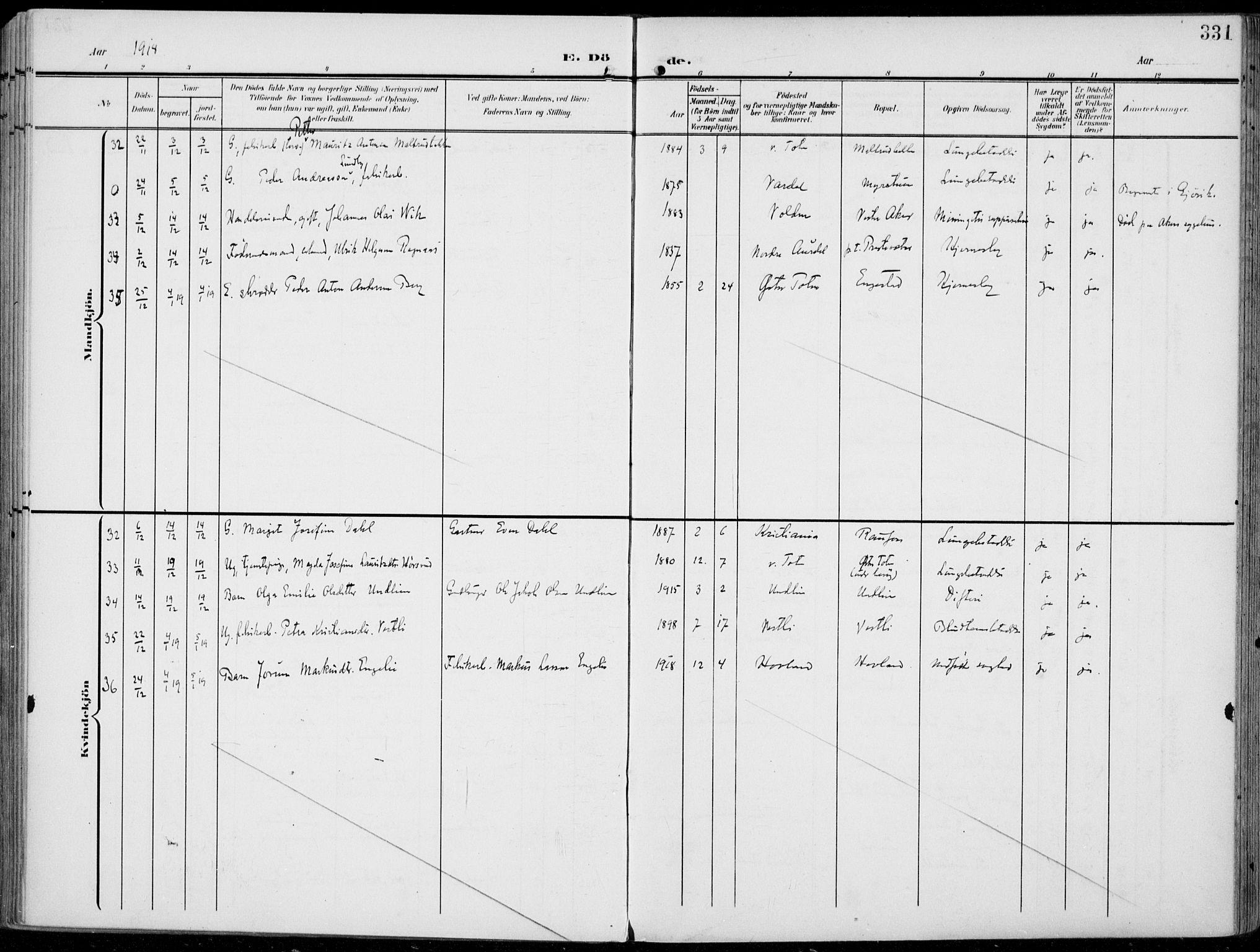 SAH, Vestre Toten prestekontor, H/Ha/Haa/L0014: Ministerialbok nr. 14, 1907-1920, s. 331