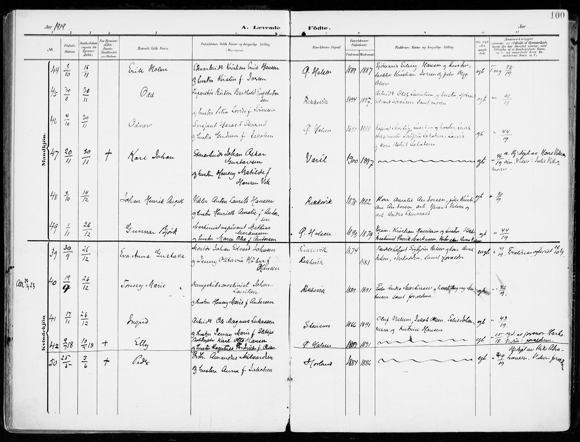 SAKO, Tjølling kirkebøker, F/Fa/L0010: Ministerialbok nr. 10, 1906-1923, s. 100