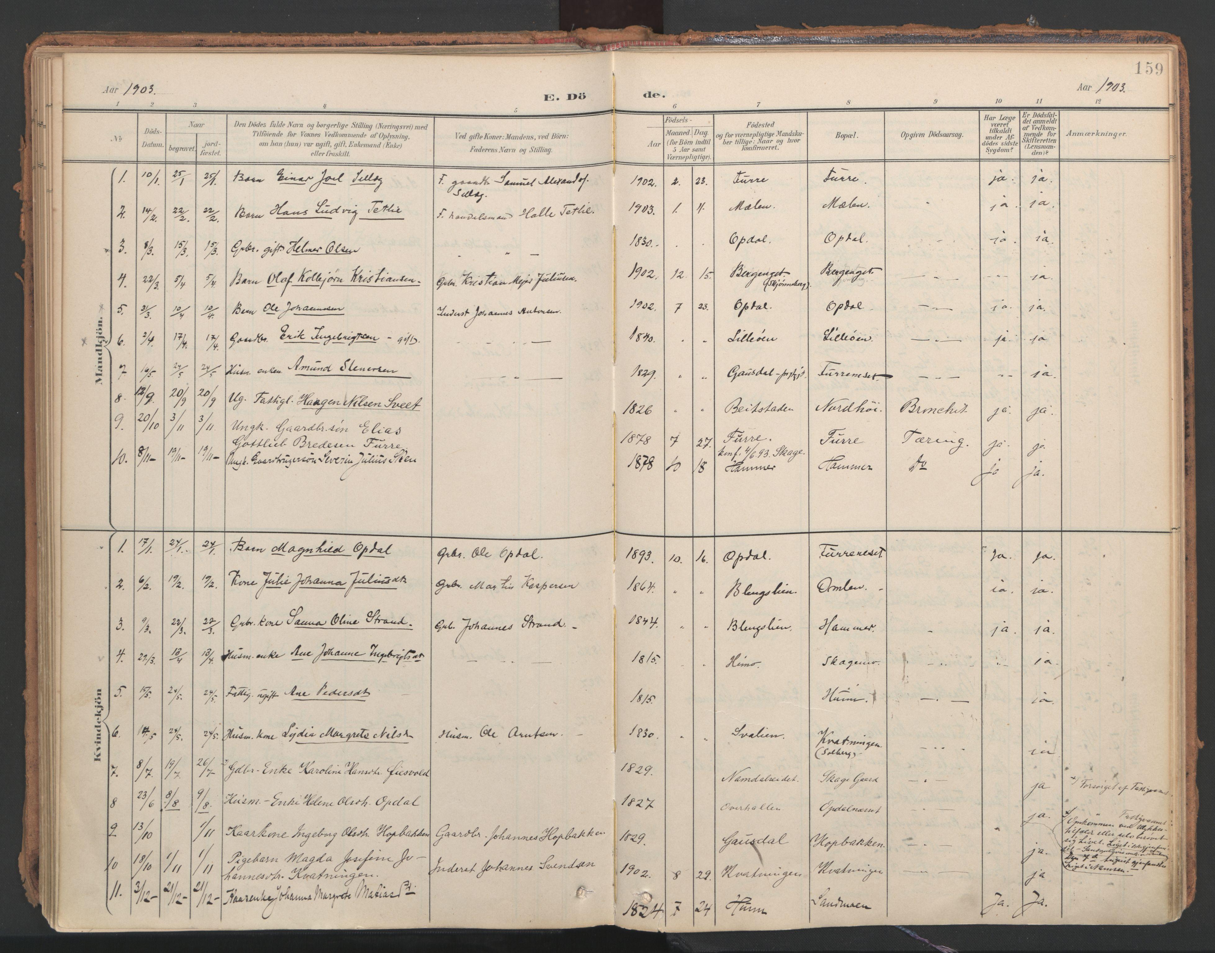 SAT, Ministerialprotokoller, klokkerbøker og fødselsregistre - Nord-Trøndelag, 766/L0564: Ministerialbok nr. 767A02, 1900-1932, s. 159