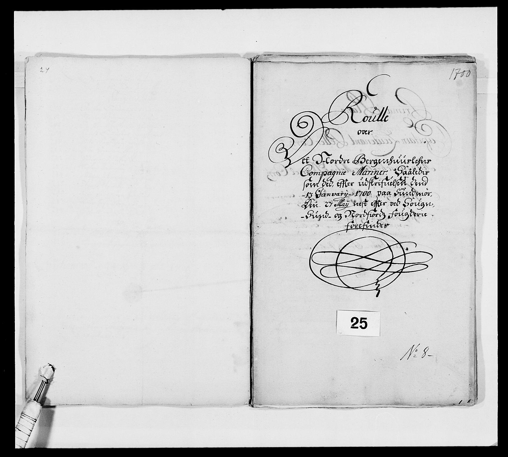 RA, Kommanderende general (KG I) med Det norske krigsdirektorium, E/Ea/L0473: Marineregimentet, 1664-1700, s. 287