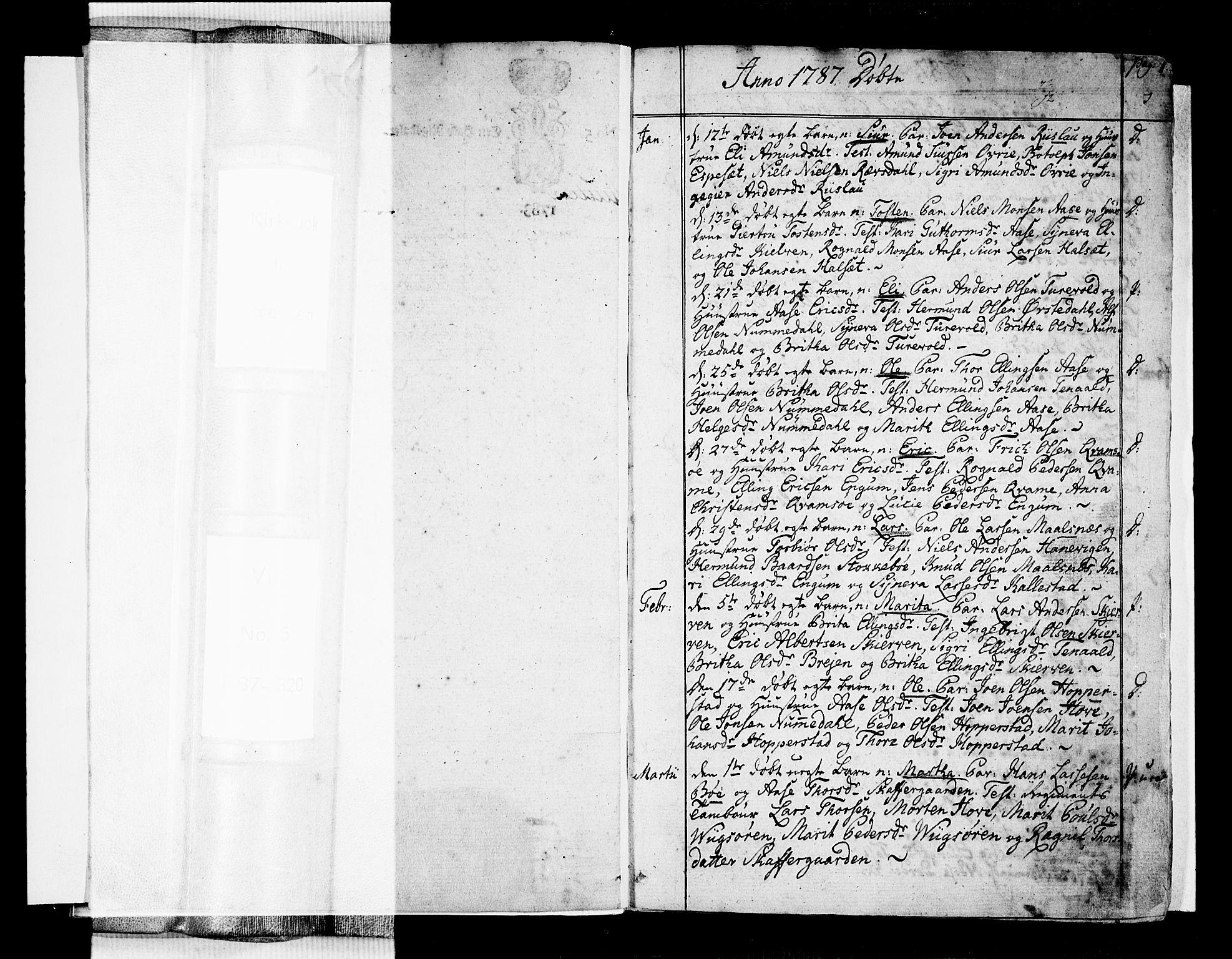 SAB, Vik Sokneprestembete, Ministerialbok nr. A 5, 1787-1820, s. 0-1