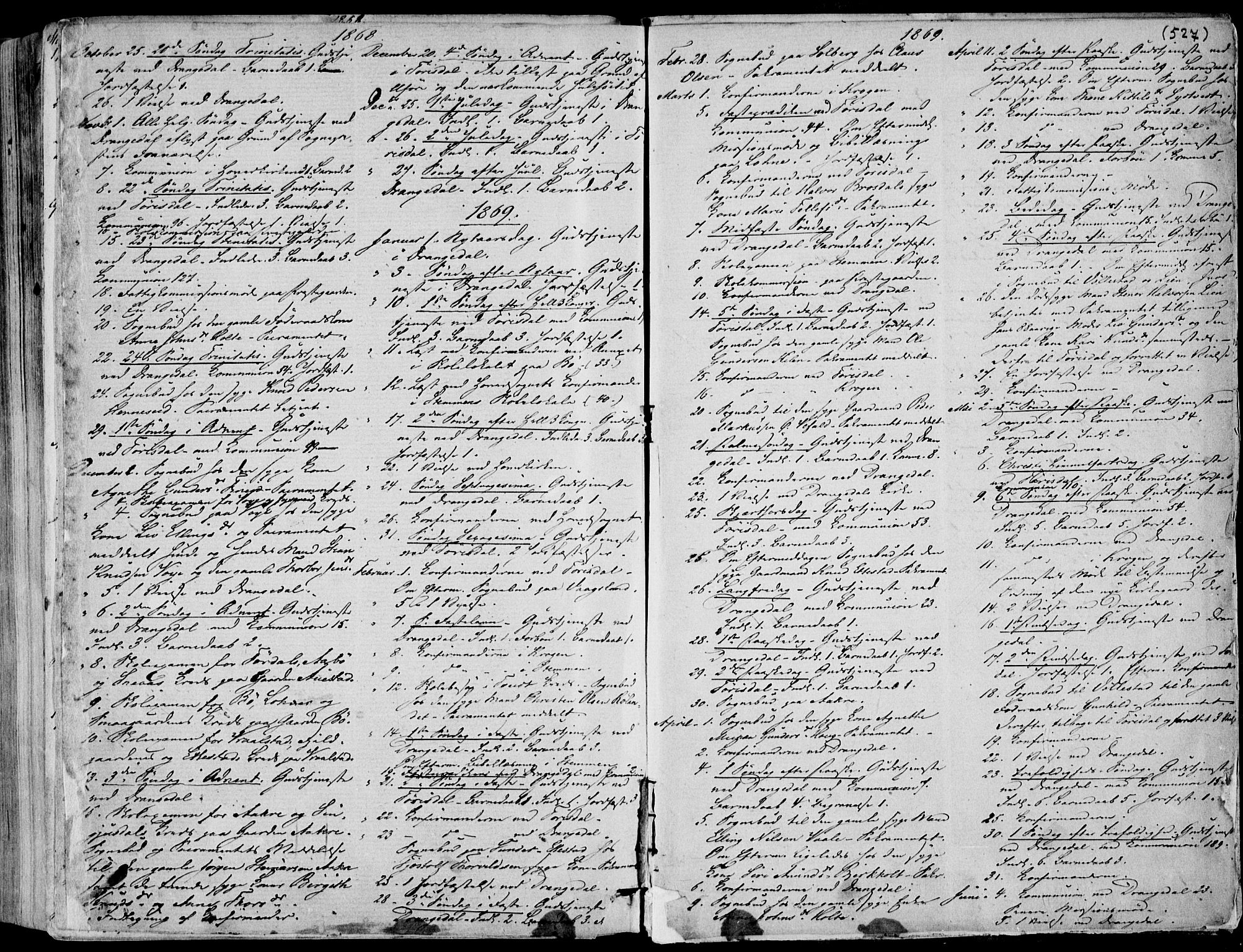 SAKO, Drangedal kirkebøker, F/Fa/L0008: Ministerialbok nr. 8, 1857-1871, s. 527