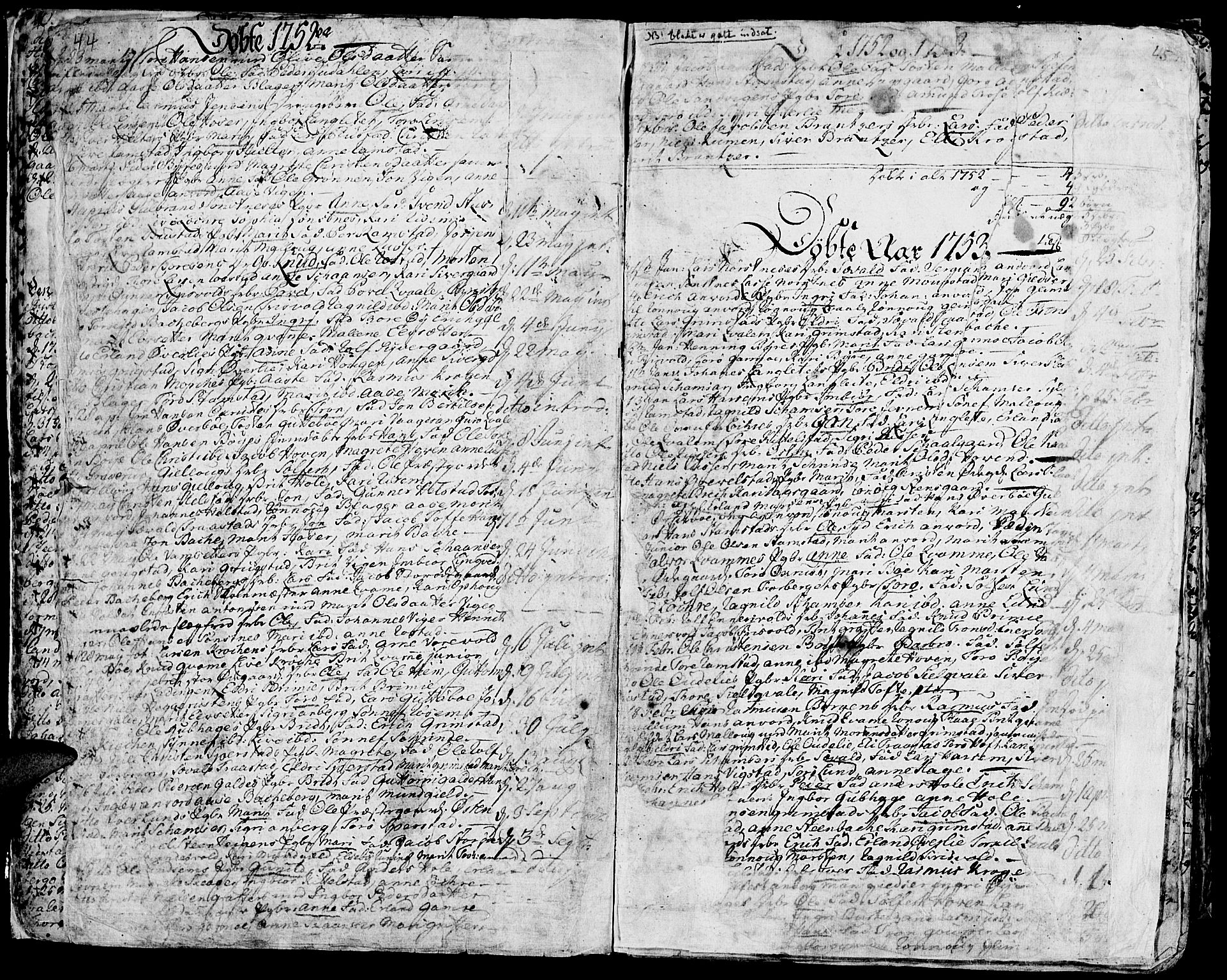 SAH, Lom prestekontor, K/L0002: Ministerialbok nr. 2, 1749-1801, s. 44-45