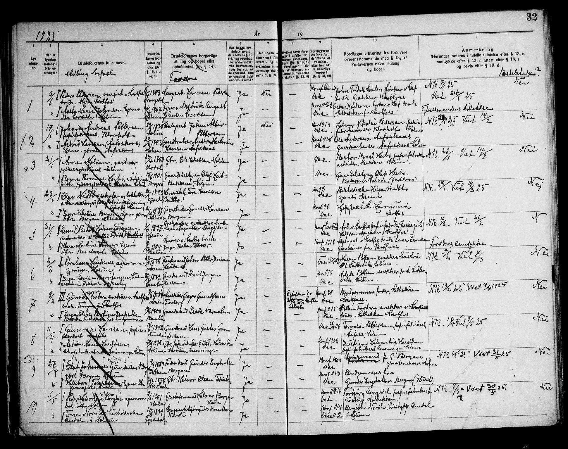 SAKO, Solum kirkebøker, H/Ha/L0002: Lysningsprotokoll nr. I 2, 1919-1946, s. 32